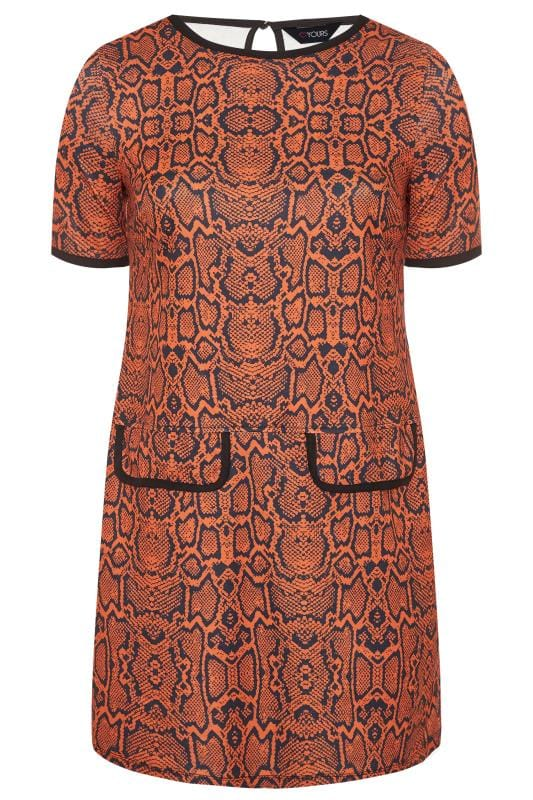 Plus Size Tunics Rust Snake Print Mock Pocket Tunic