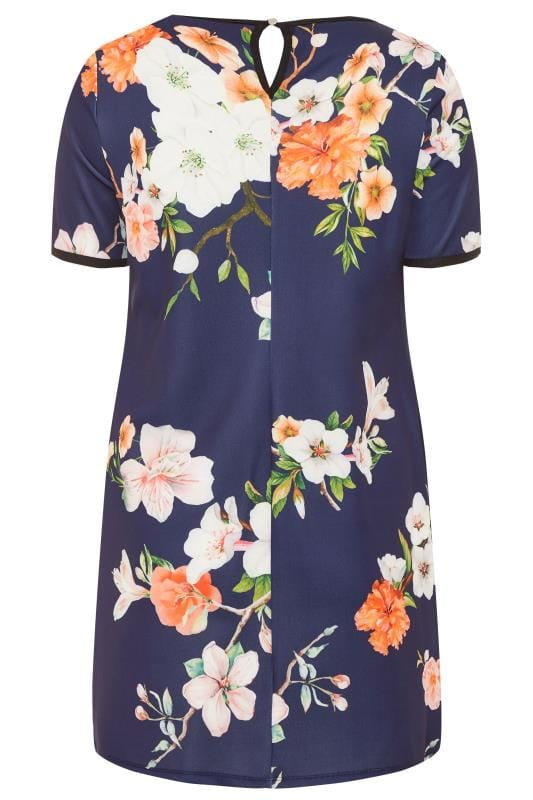 Tunika-Kleid mit Blumen-Muster - Dunkelblau | Yours Clothing