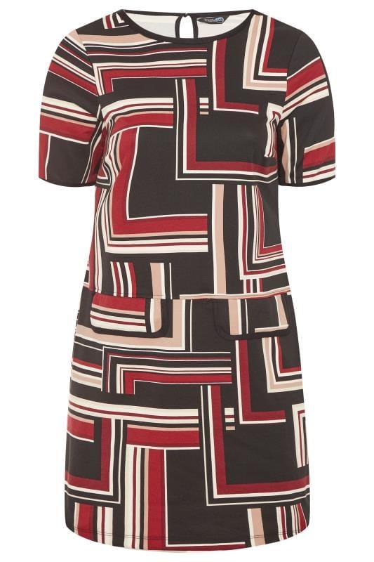 Plus Size Tunics Black & Burgundy Striped Mock Pocket Tunic