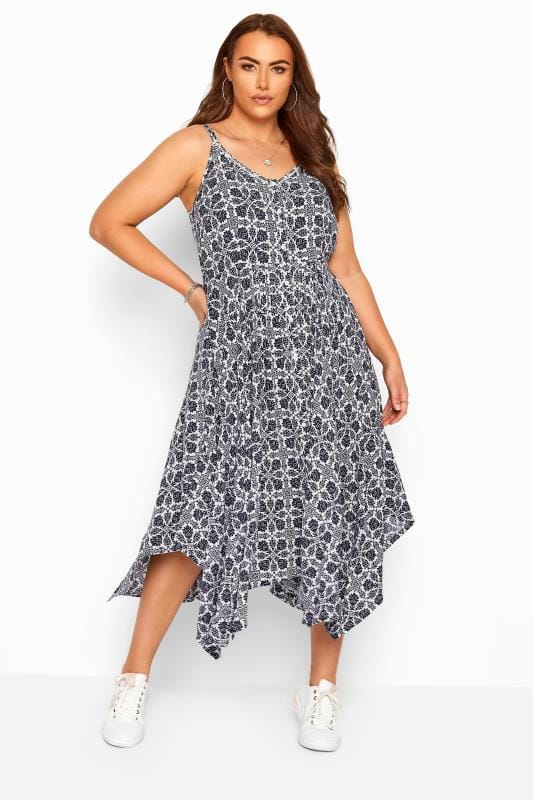 Plus Size Floral Dresses White & Navy Floral Hanky Hem Strappy Sundress