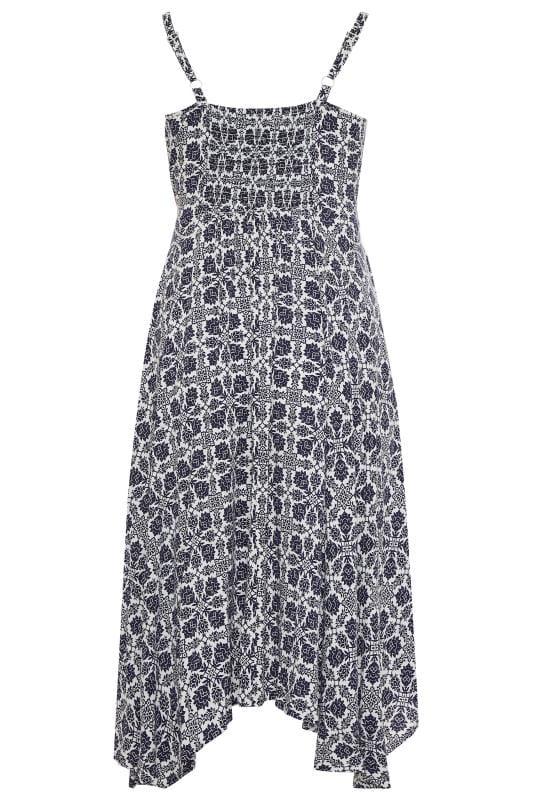 Blumen-Kleid mit Zipfelsaum - Blau/Weiß