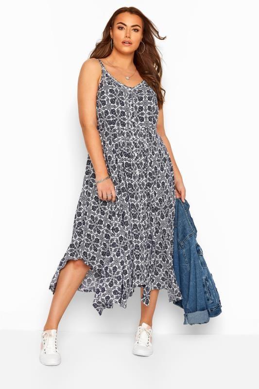 Plus Size Floral Dresses White & Navy Floral Hanky Hem Strappy Sundress