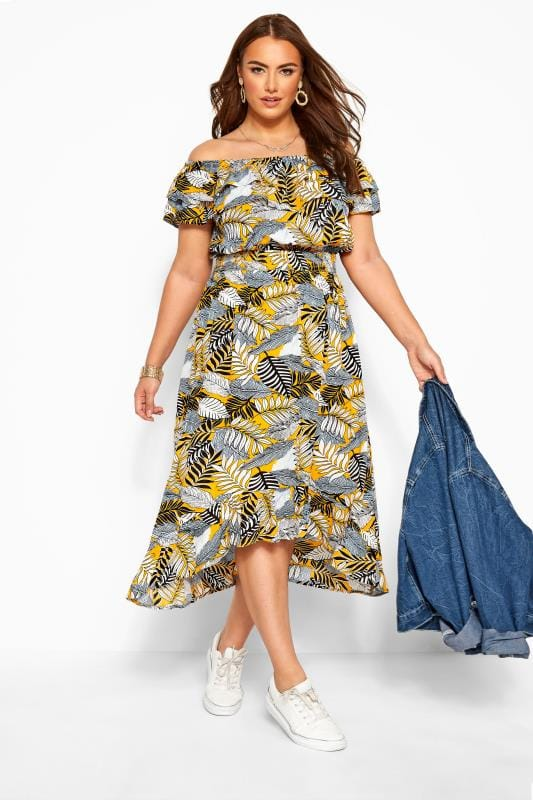 Yellow Tropical Print Bardot Midi Dress