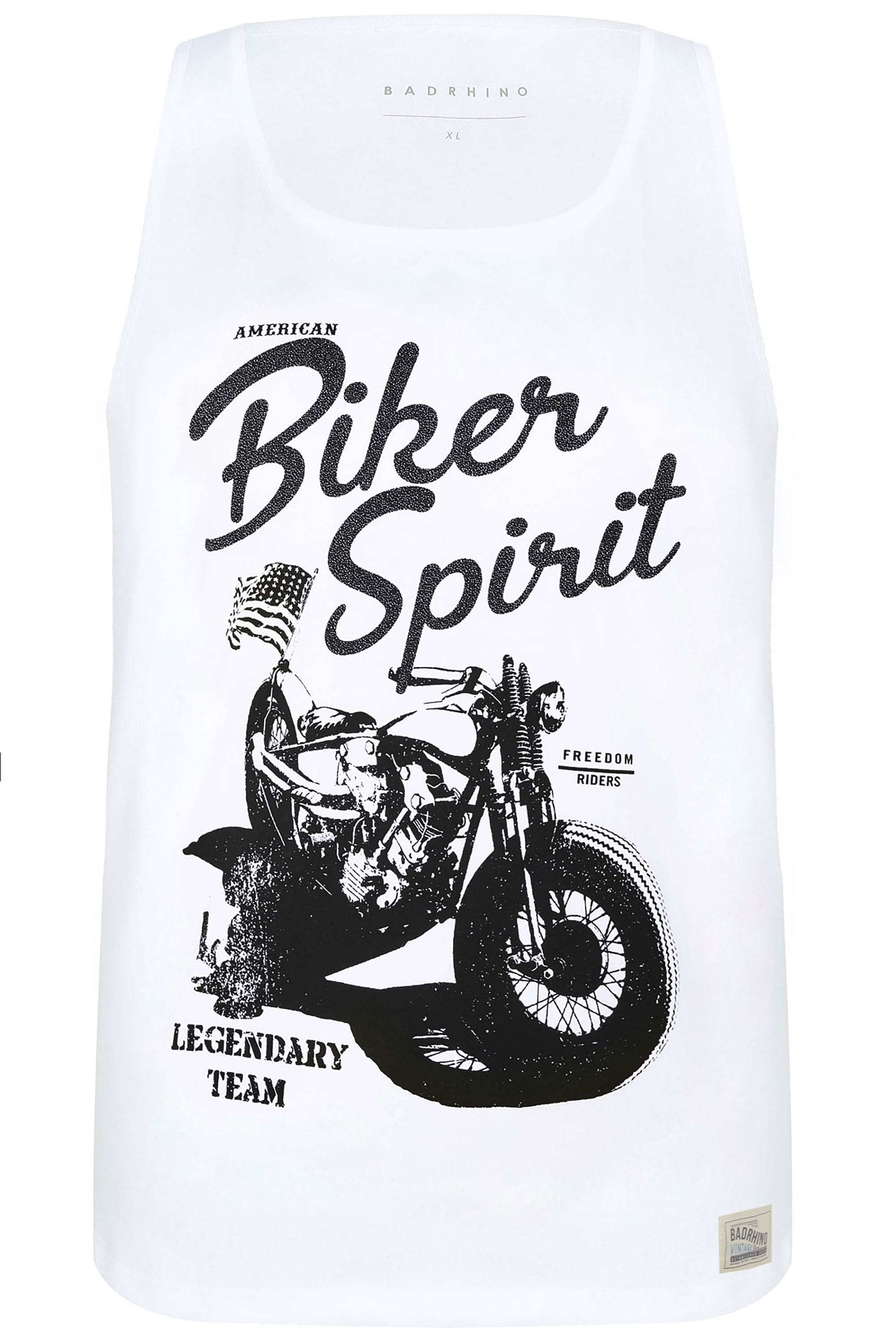 BadRhino White 'Biker Spirit' Slogan Vest Top