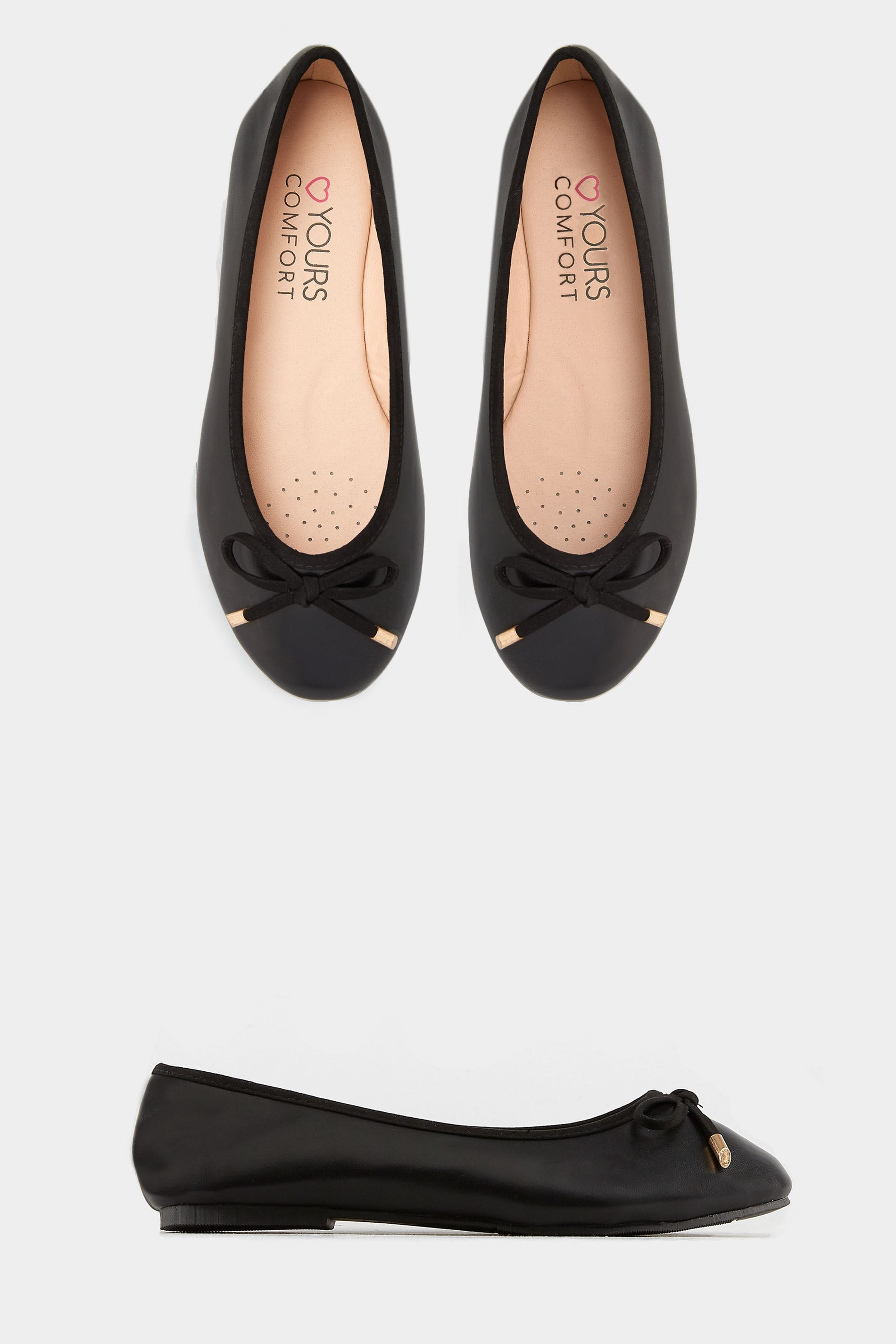 Black Ballerina Pumps In Extra Wide Fit