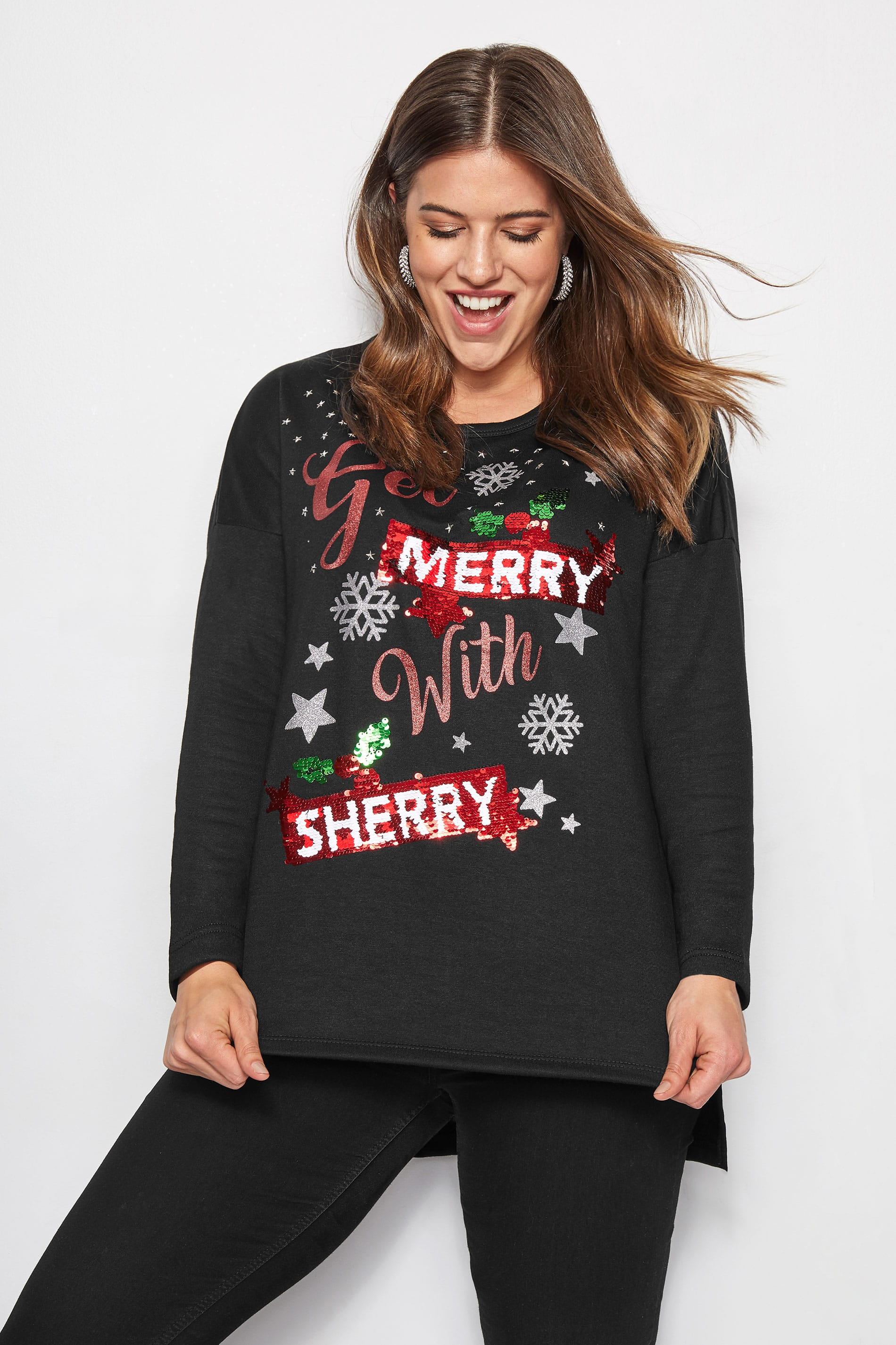 Black Changeable Slogan Sequin Christmas Sweater