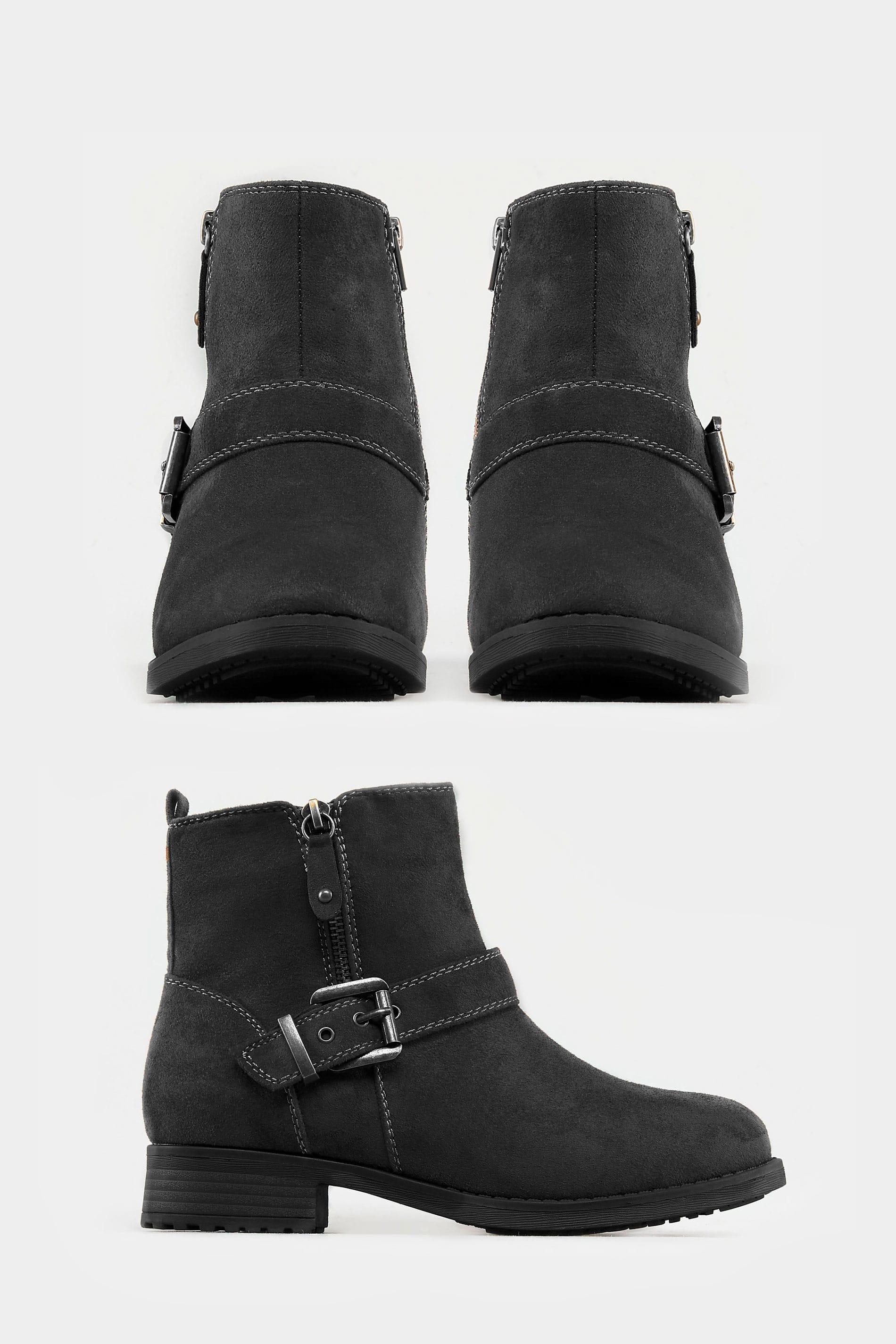 promo code fcf4c 0f340 Schwarze Ankle Boots mit Schnalle & weiter Passform EEE Fit