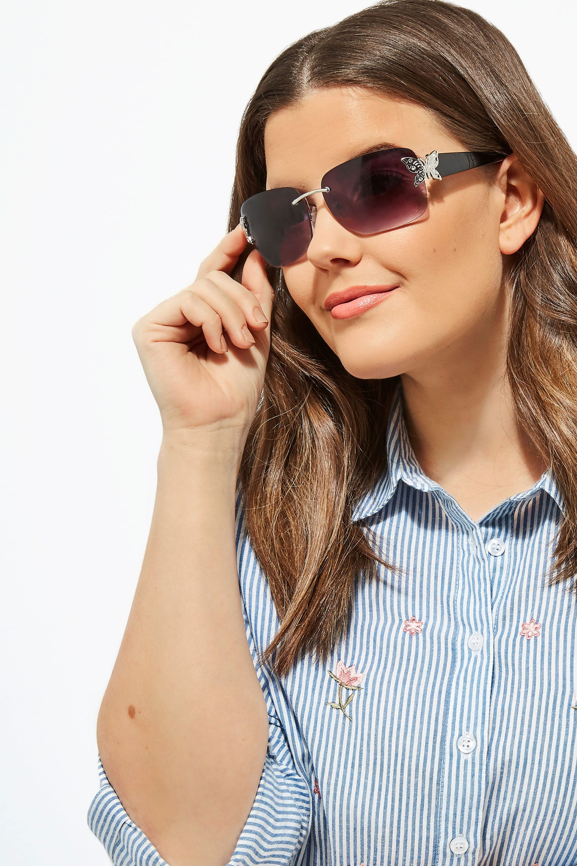 Black Butterfly Frameless Sunglasses