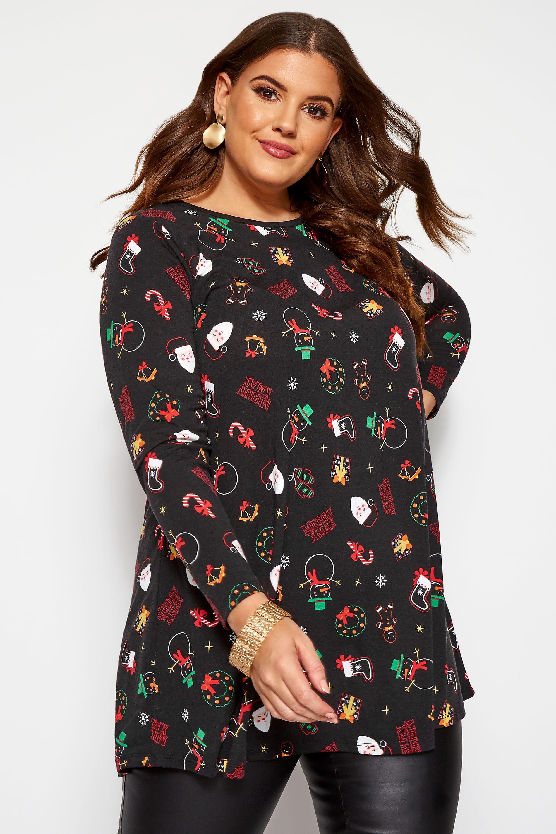 Zwarte tuniek met kerstprint