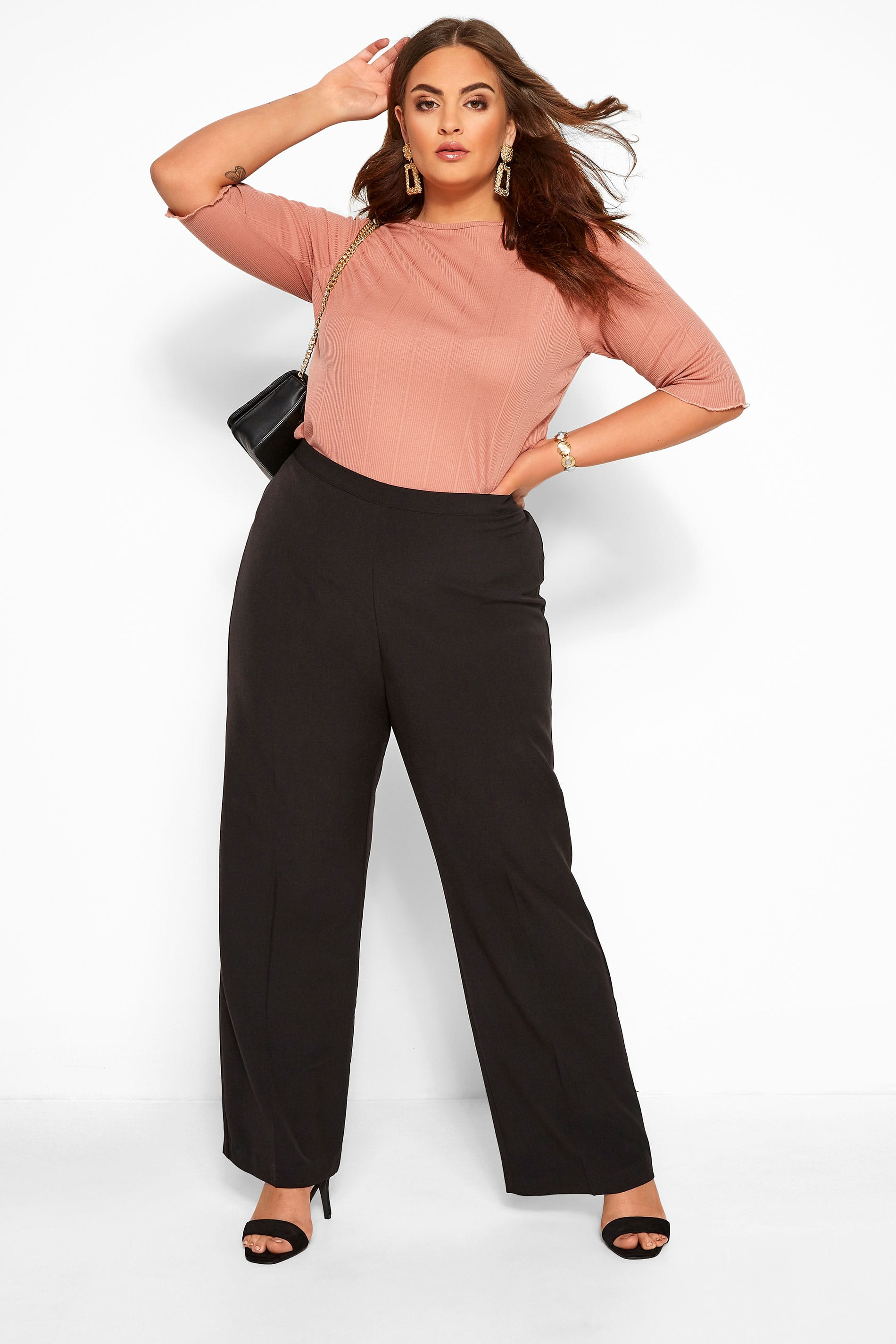 Black Classic Straight Leg Trousers with Elasticated Waistband  - PETITE