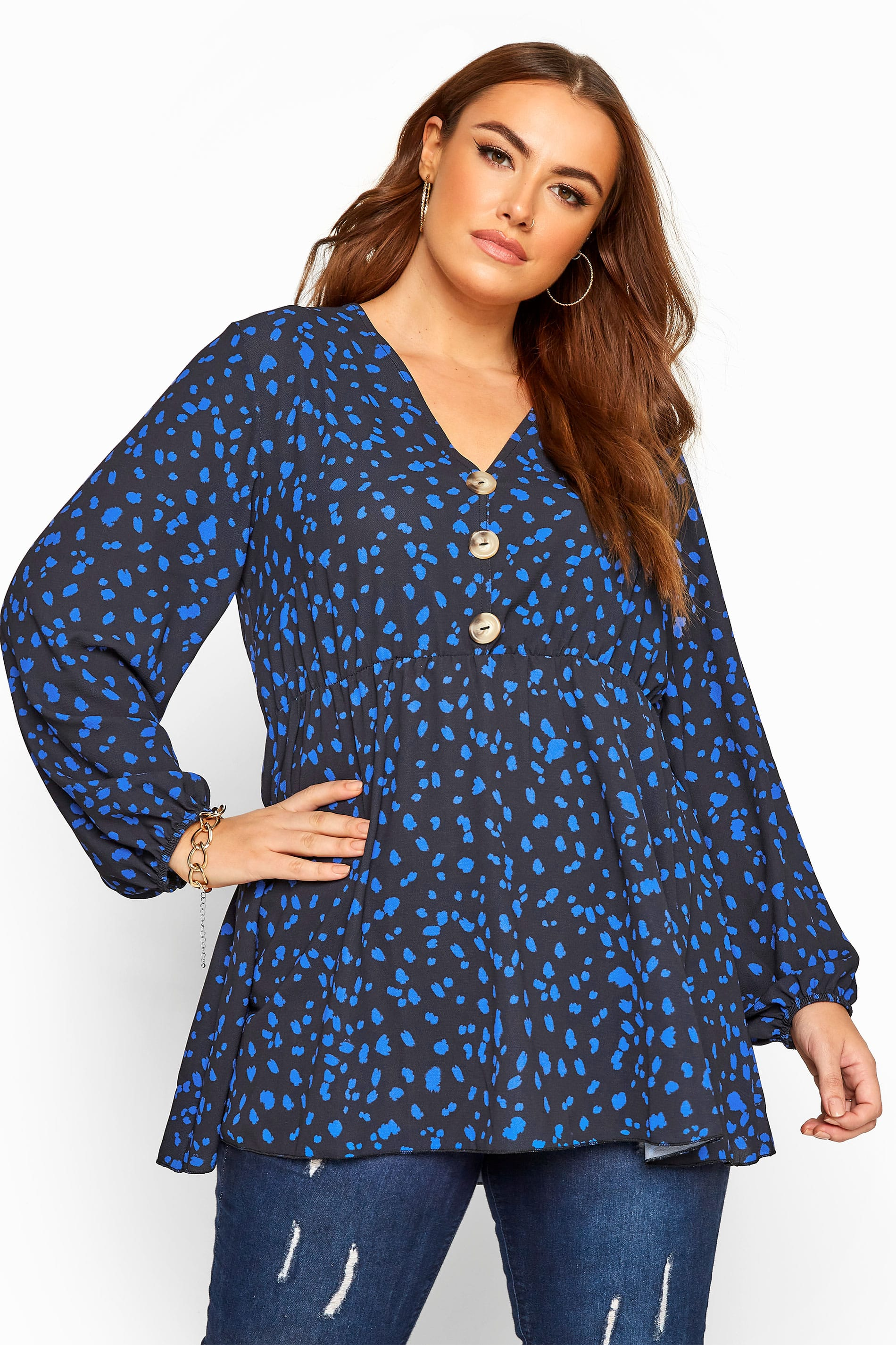 Black & Cobalt Blue Dalmatian Print Button Peplum Top