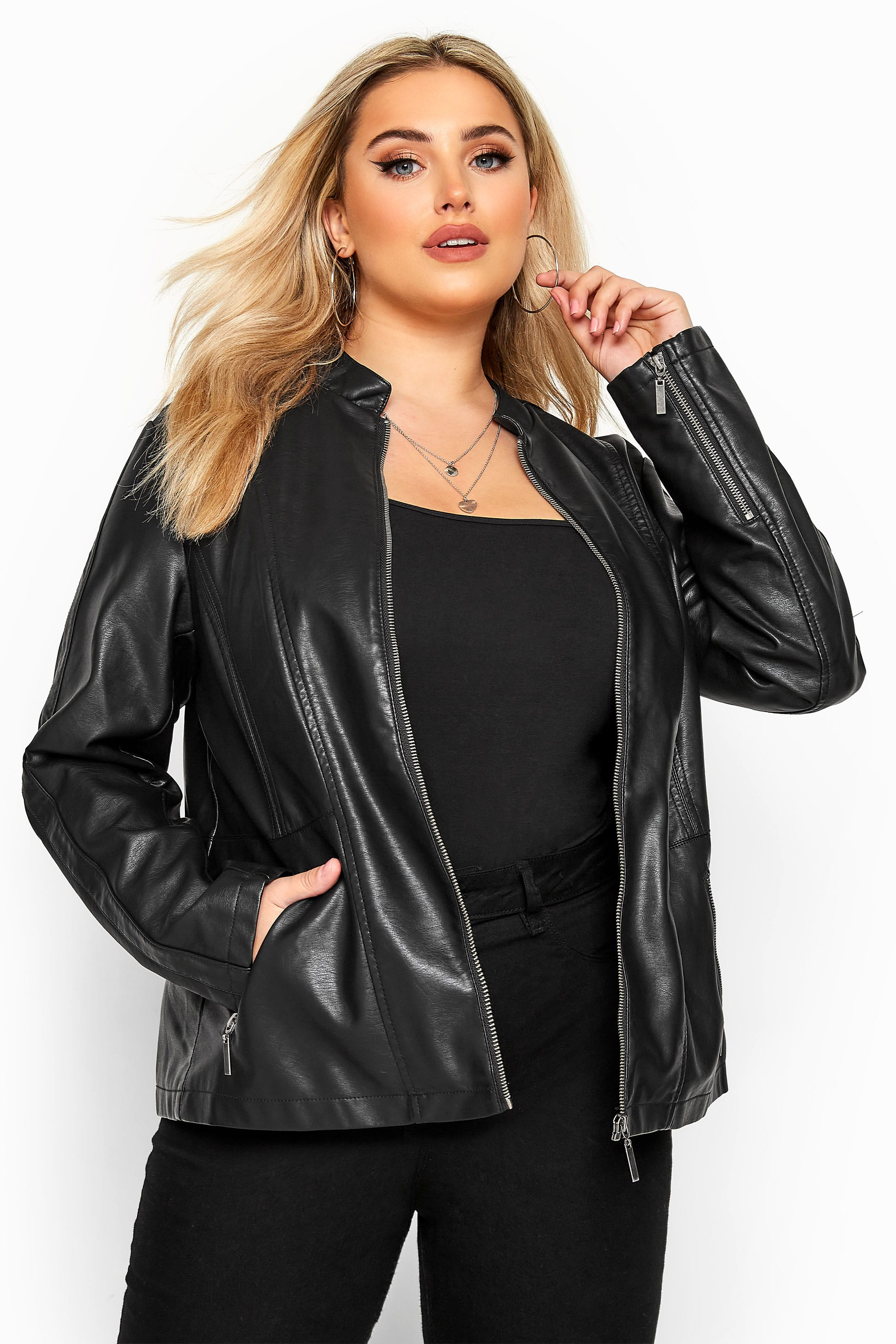 Black Collarless PU Leather Jacket