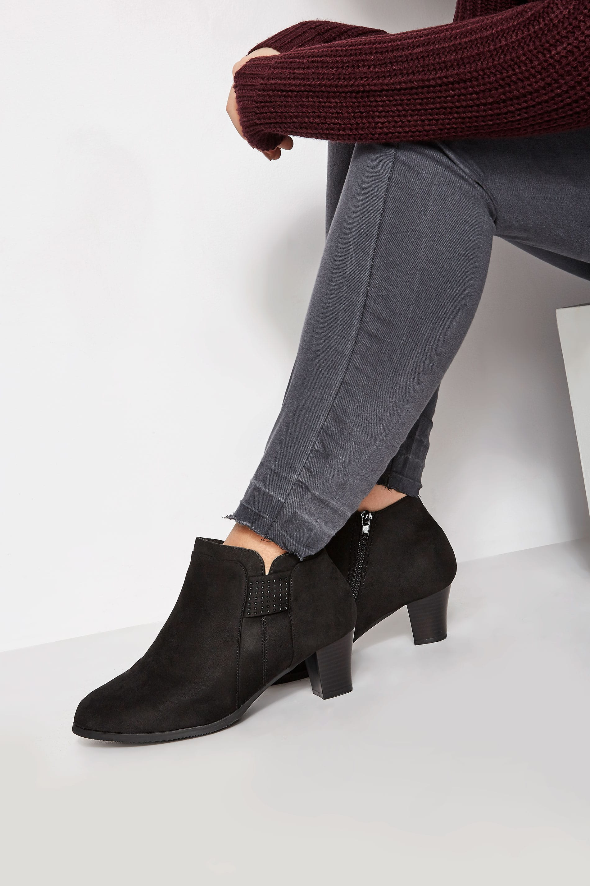 Black Diamante Trim Ankle Boot In Extra Wide Fit