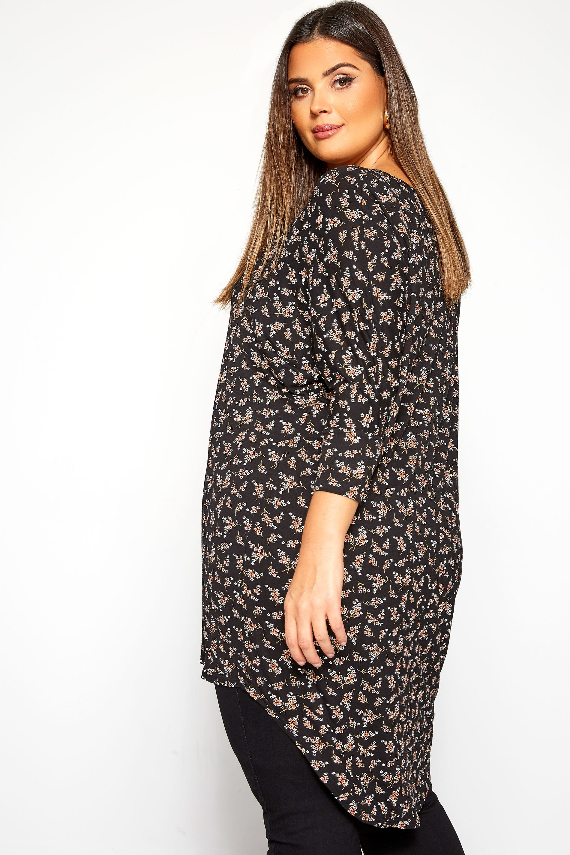Black Ditsy Floral Extreme Dipped Hem Top