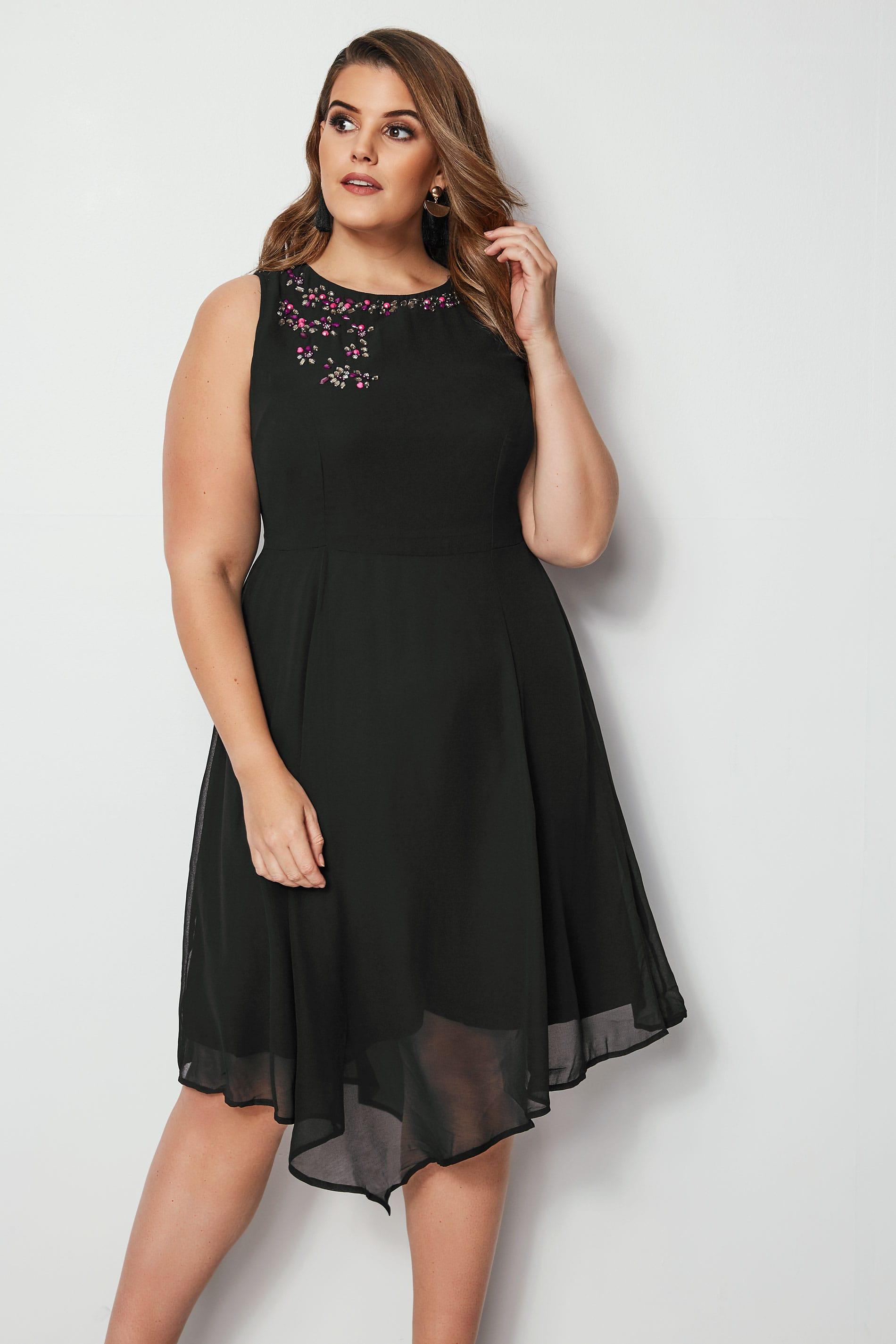 Black Embellished Fit & Flare Skater Dress