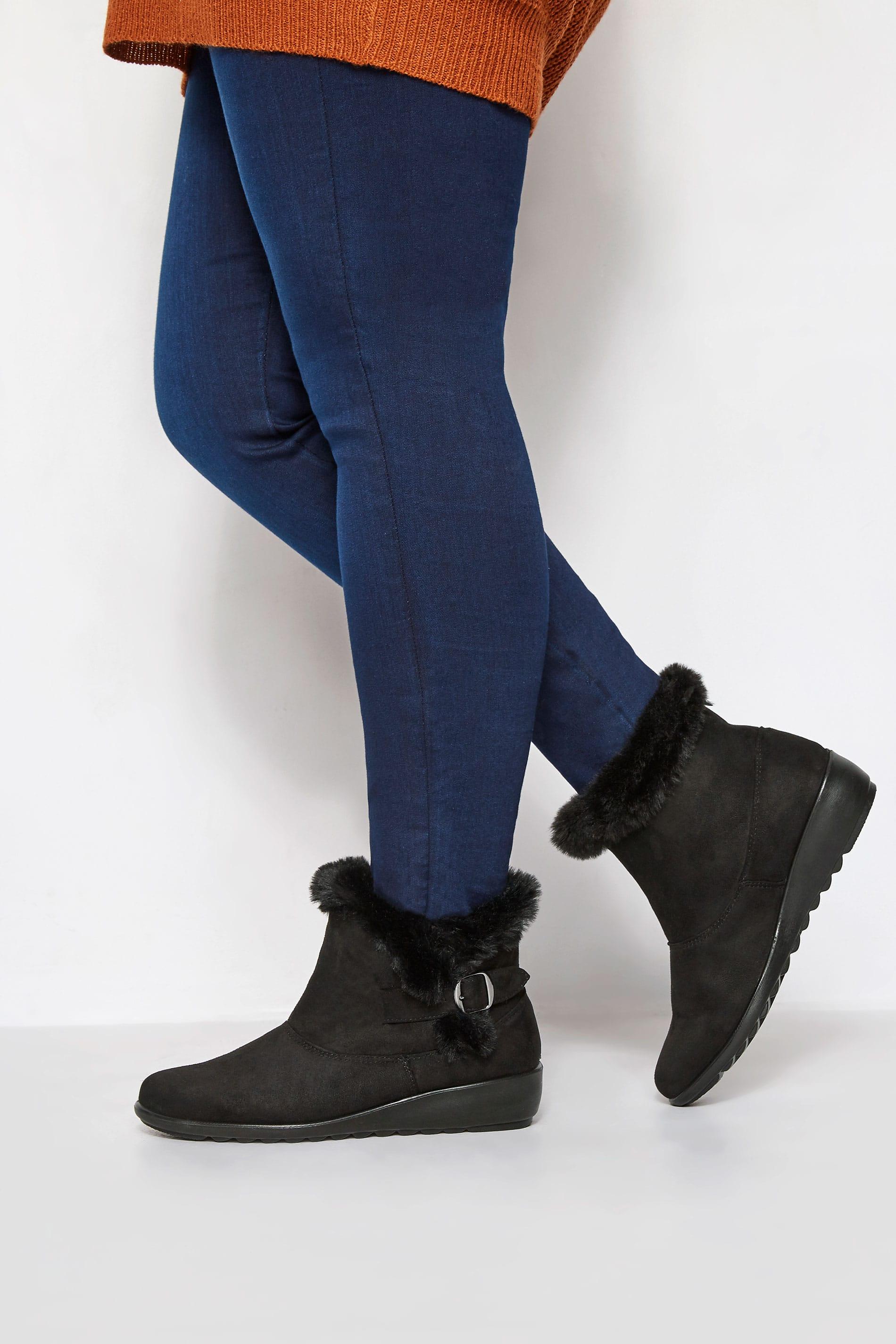Black Faux Fur Trim Ankle Boot In EEE Fit