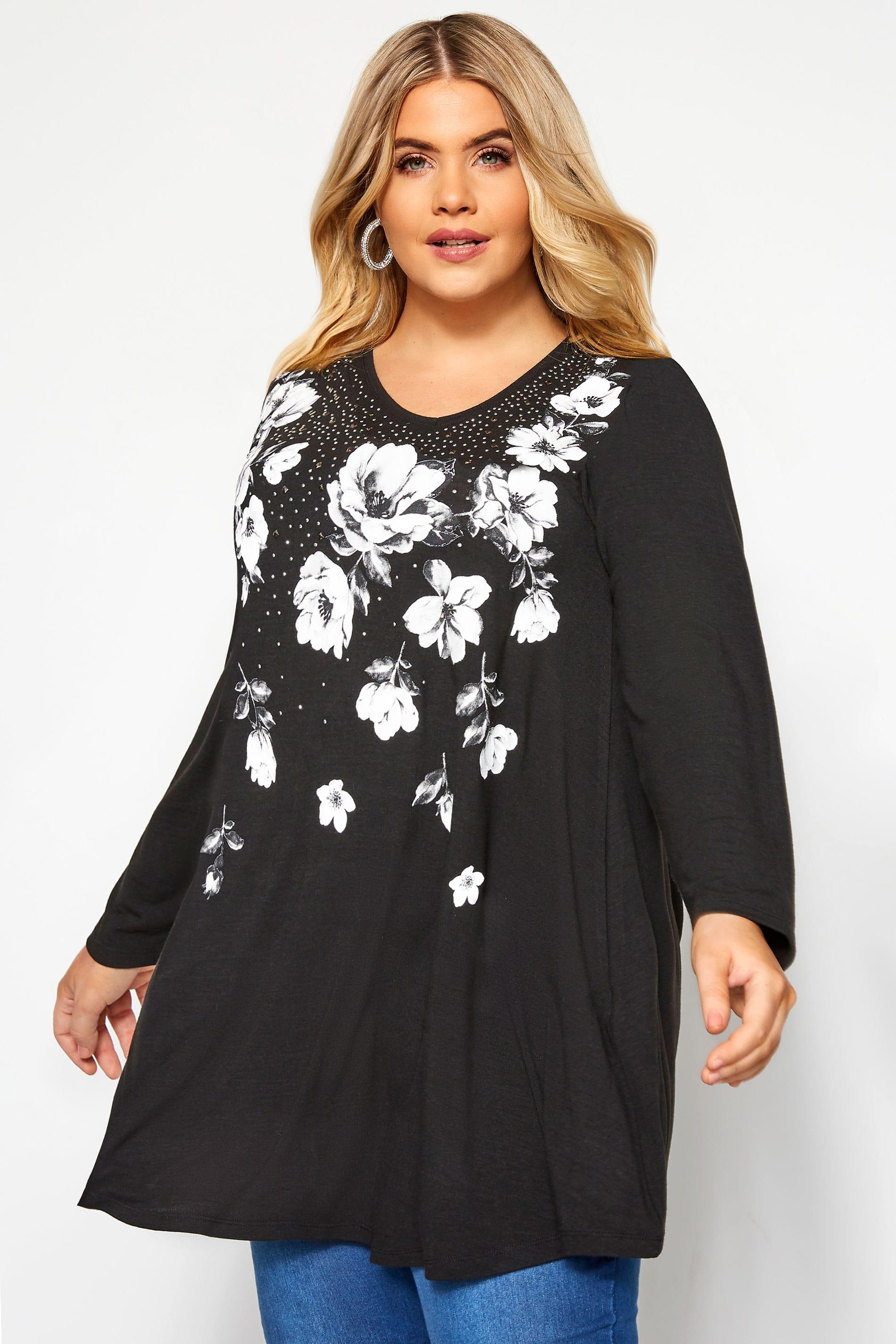 Black Floral Embellished Swing Top