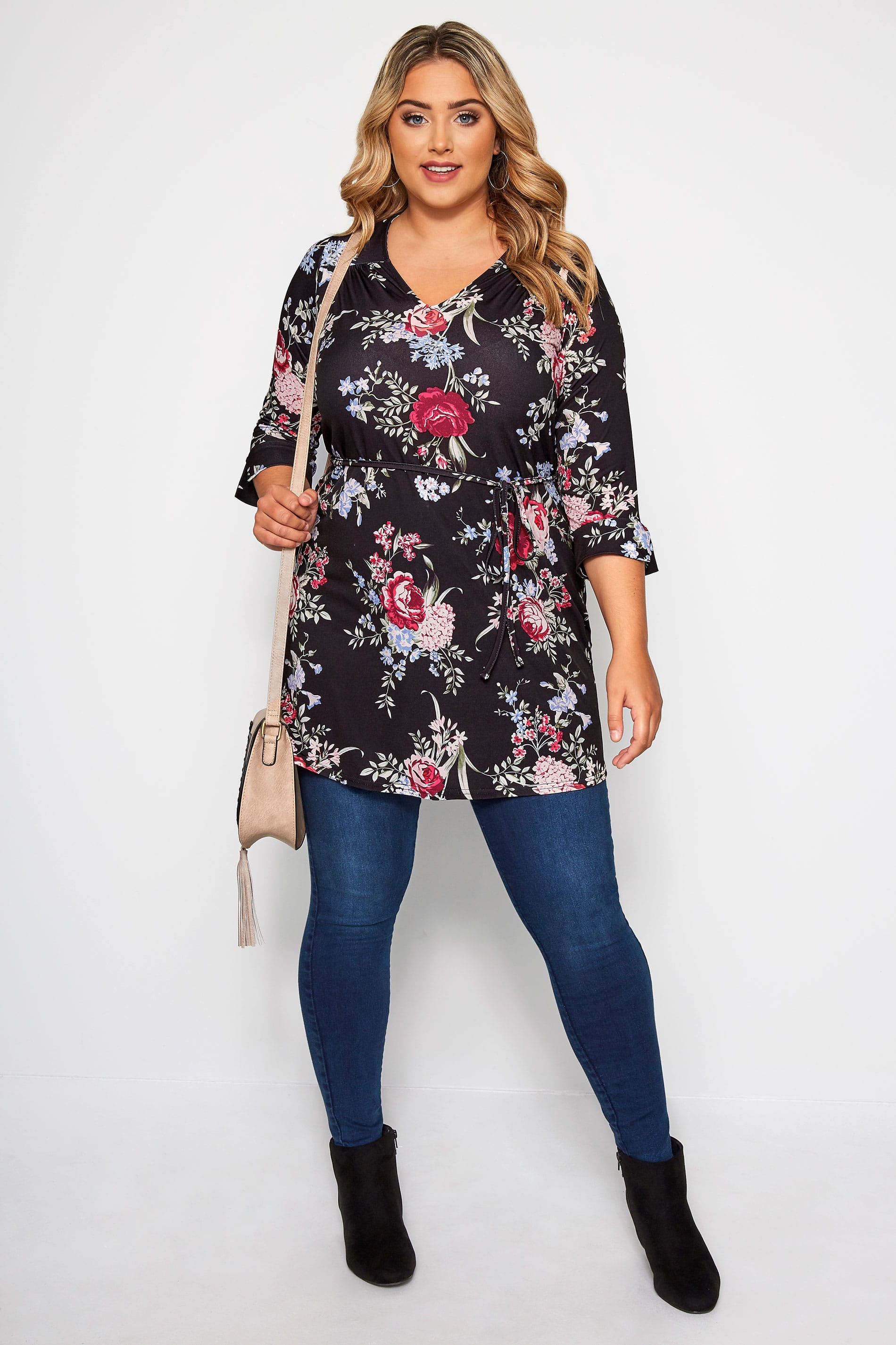 Black Floral Jersey Tunic