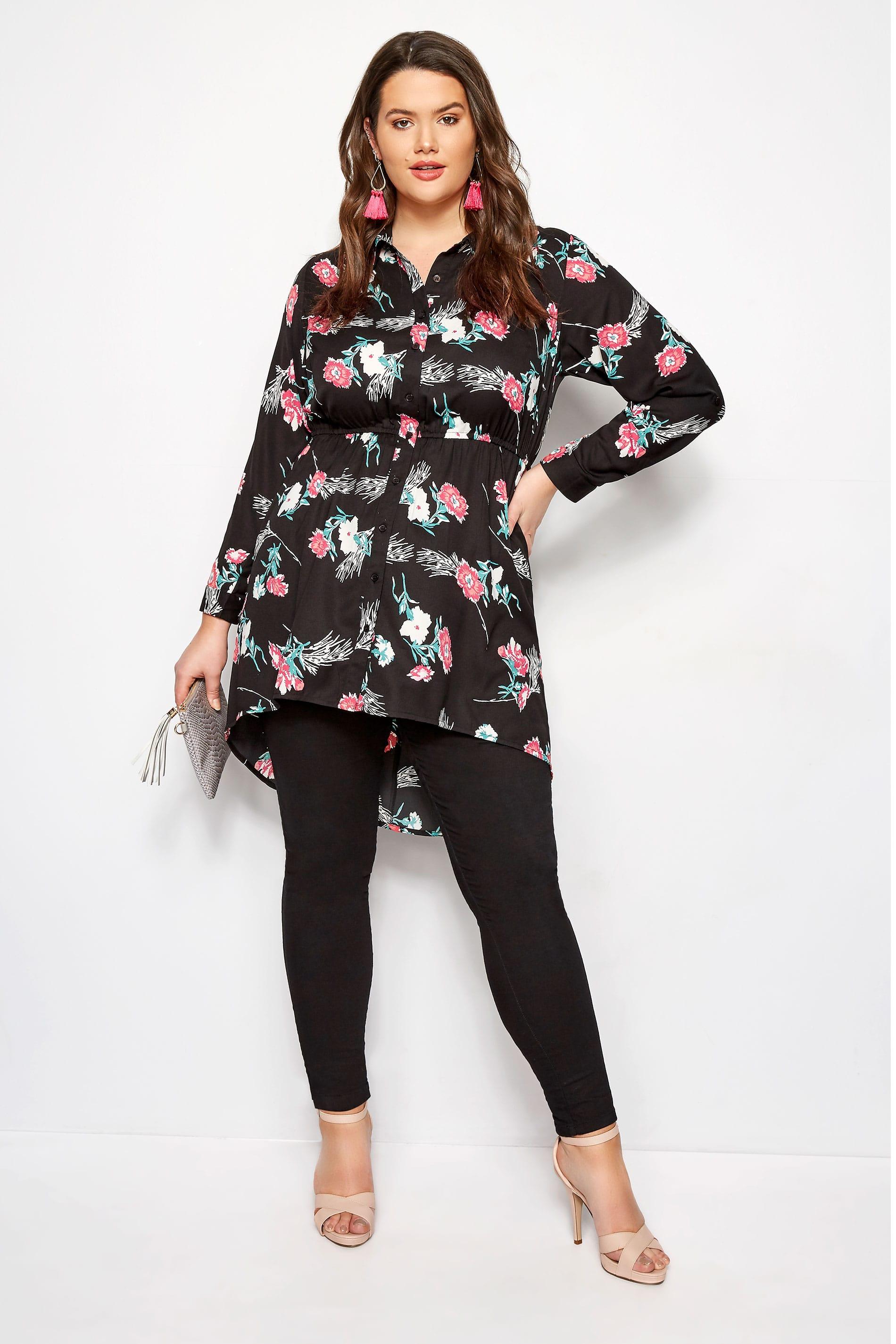 Black Floral Longline Shirt
