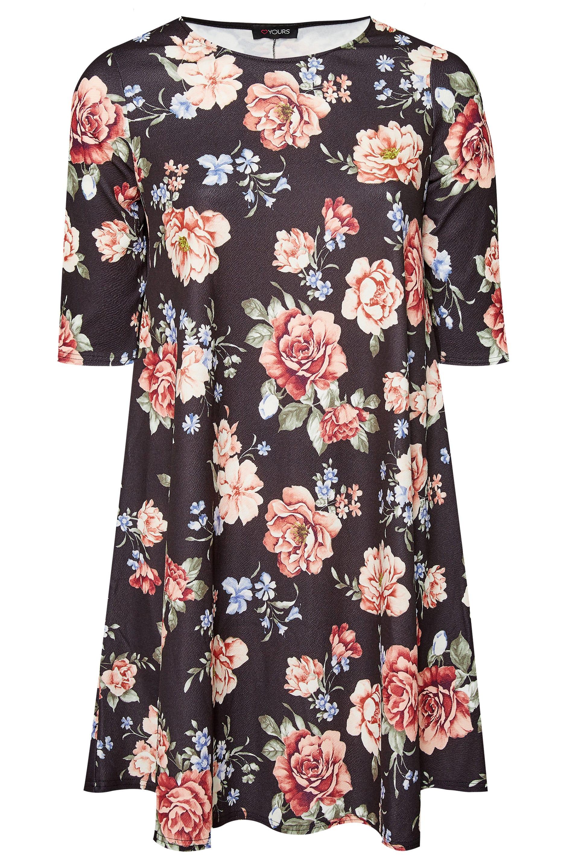 Jersey-Kleid mit Blumen-Muster - Schwarz, große Größen 44 ...