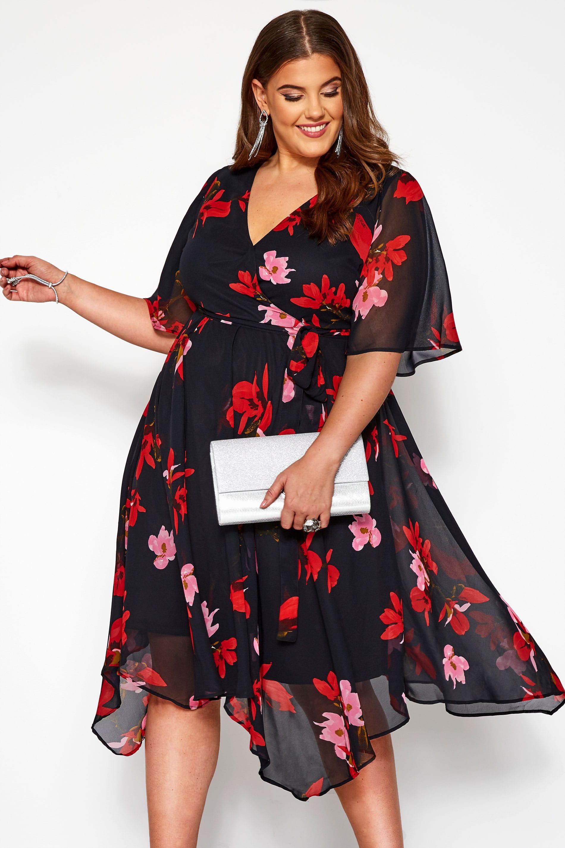 Black Floral Wrap Hanky Hem Dress