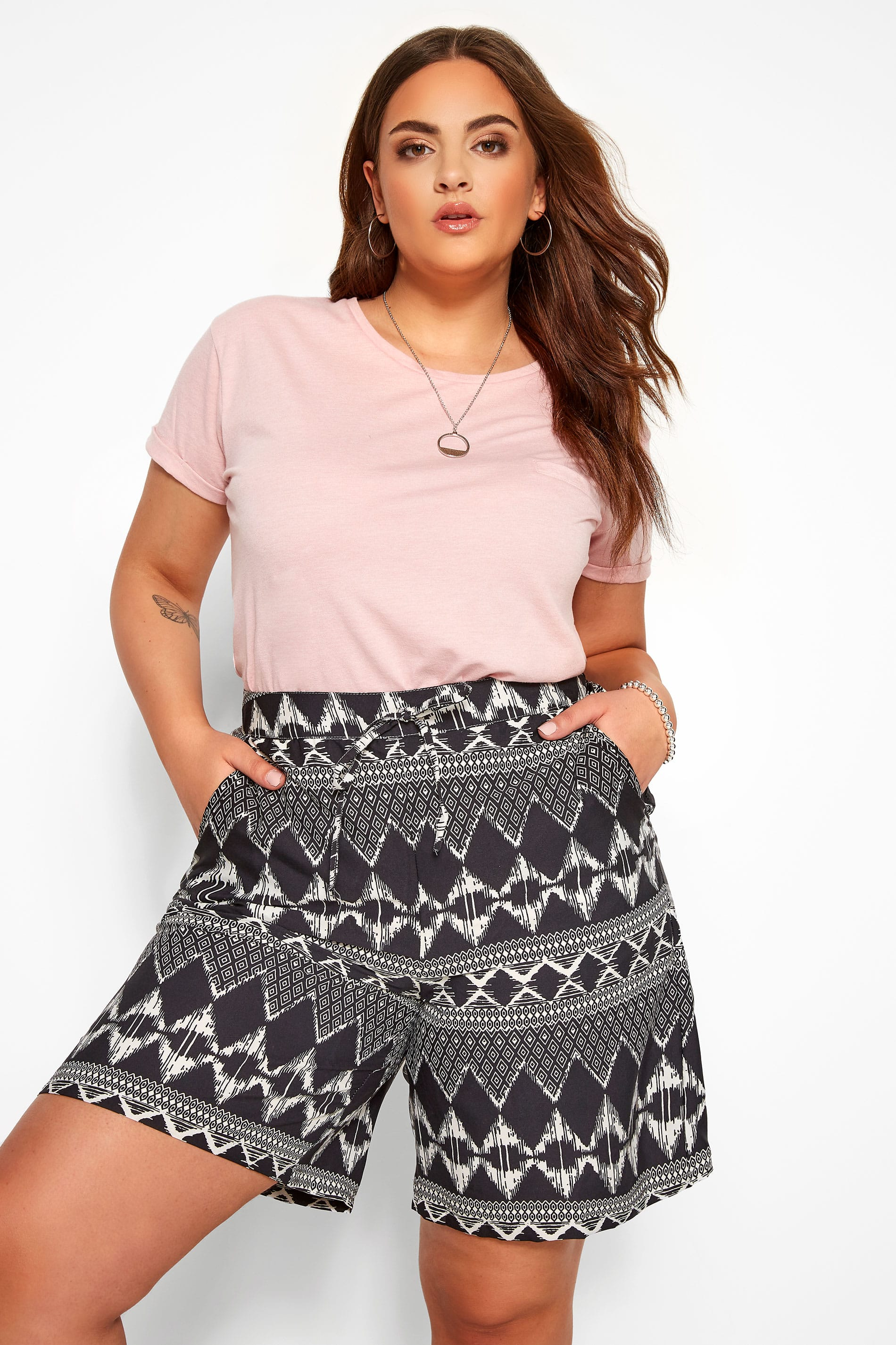 Black Geo Print Pull On Shorts