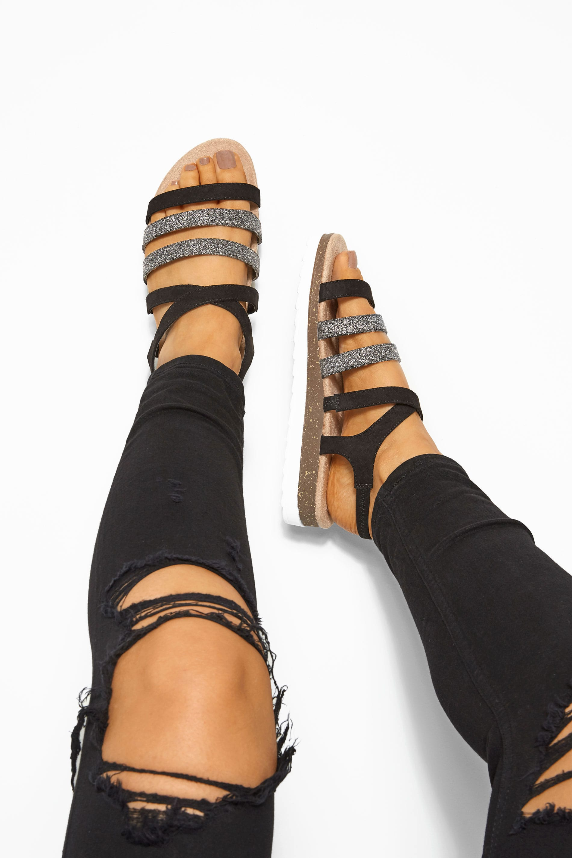 Black Glitter Strappy Sandals In Extra Wide Fit