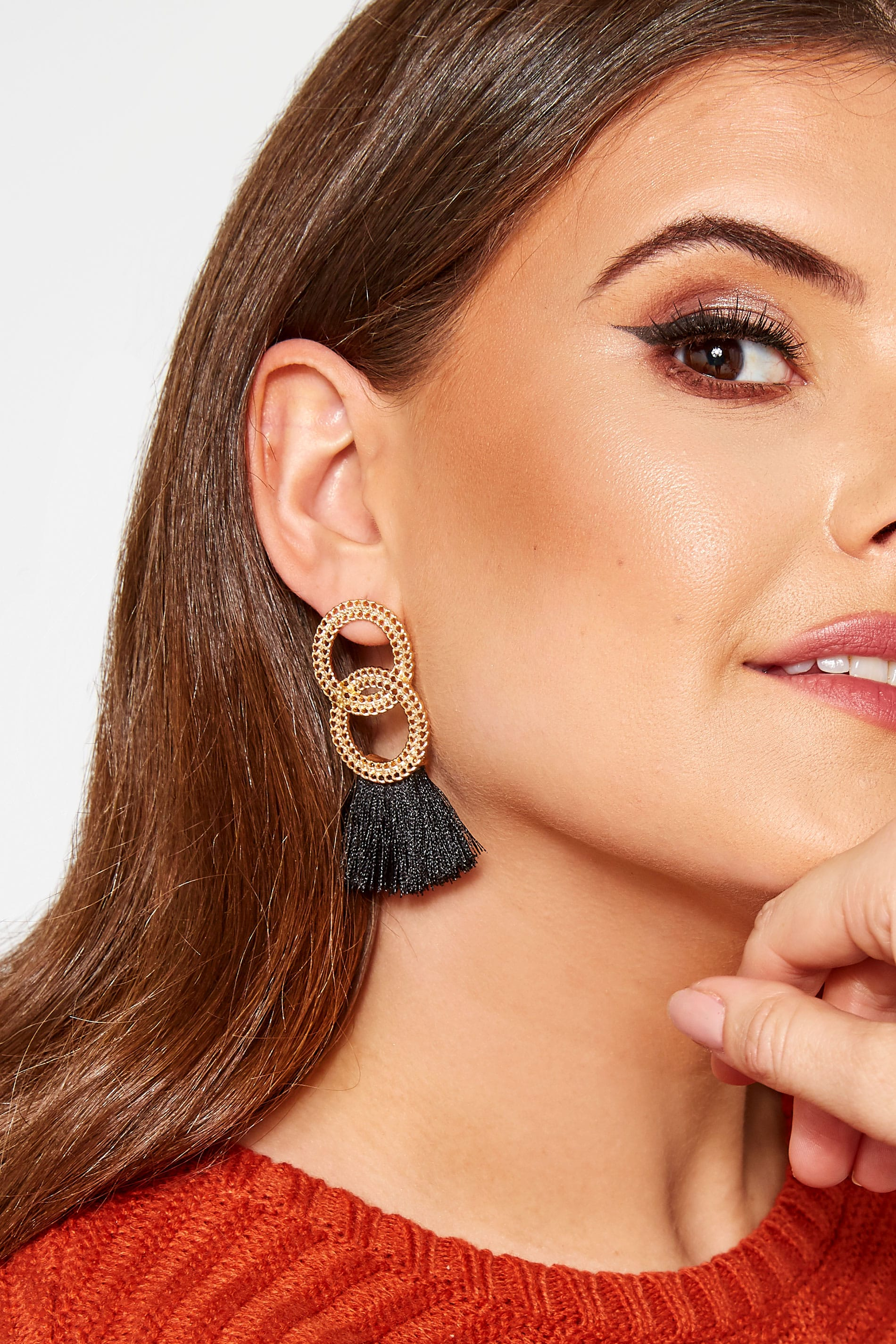 Gold & Black Tassel Earrings