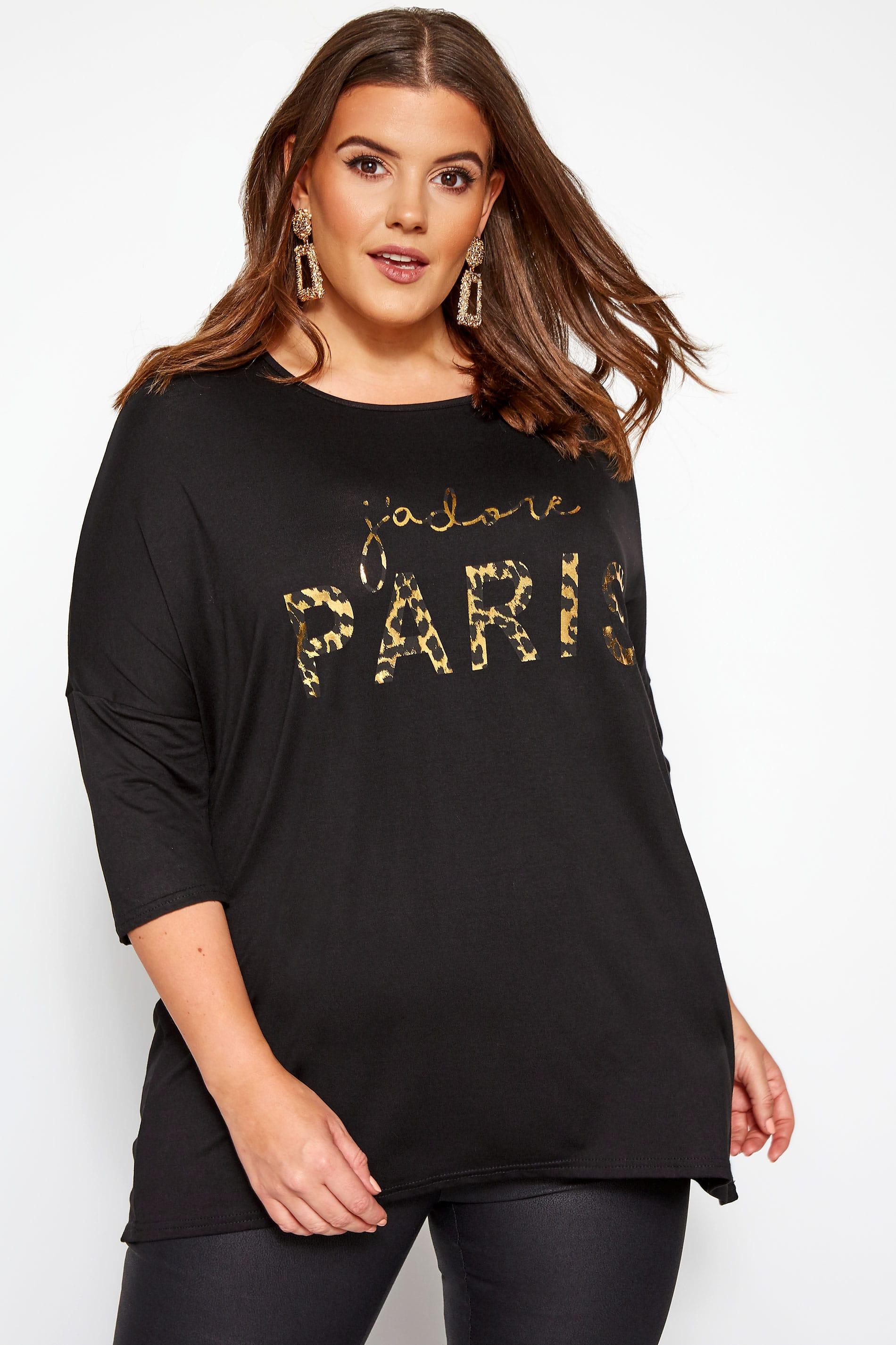 Black Leopard Foil 'J'adore Paris' Slogan T-Shirt