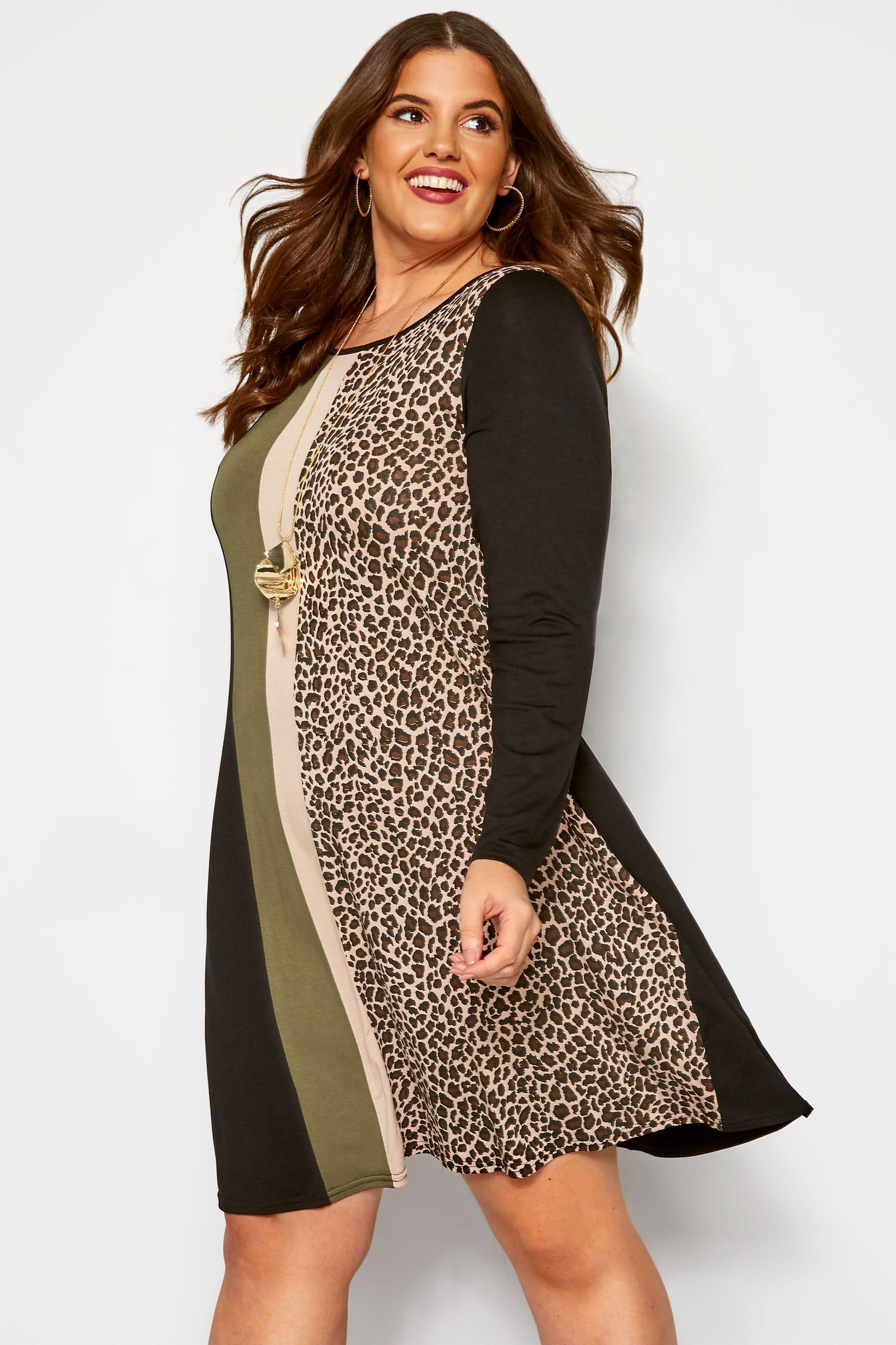 Black & Khaki Animal Stripe Print Dress