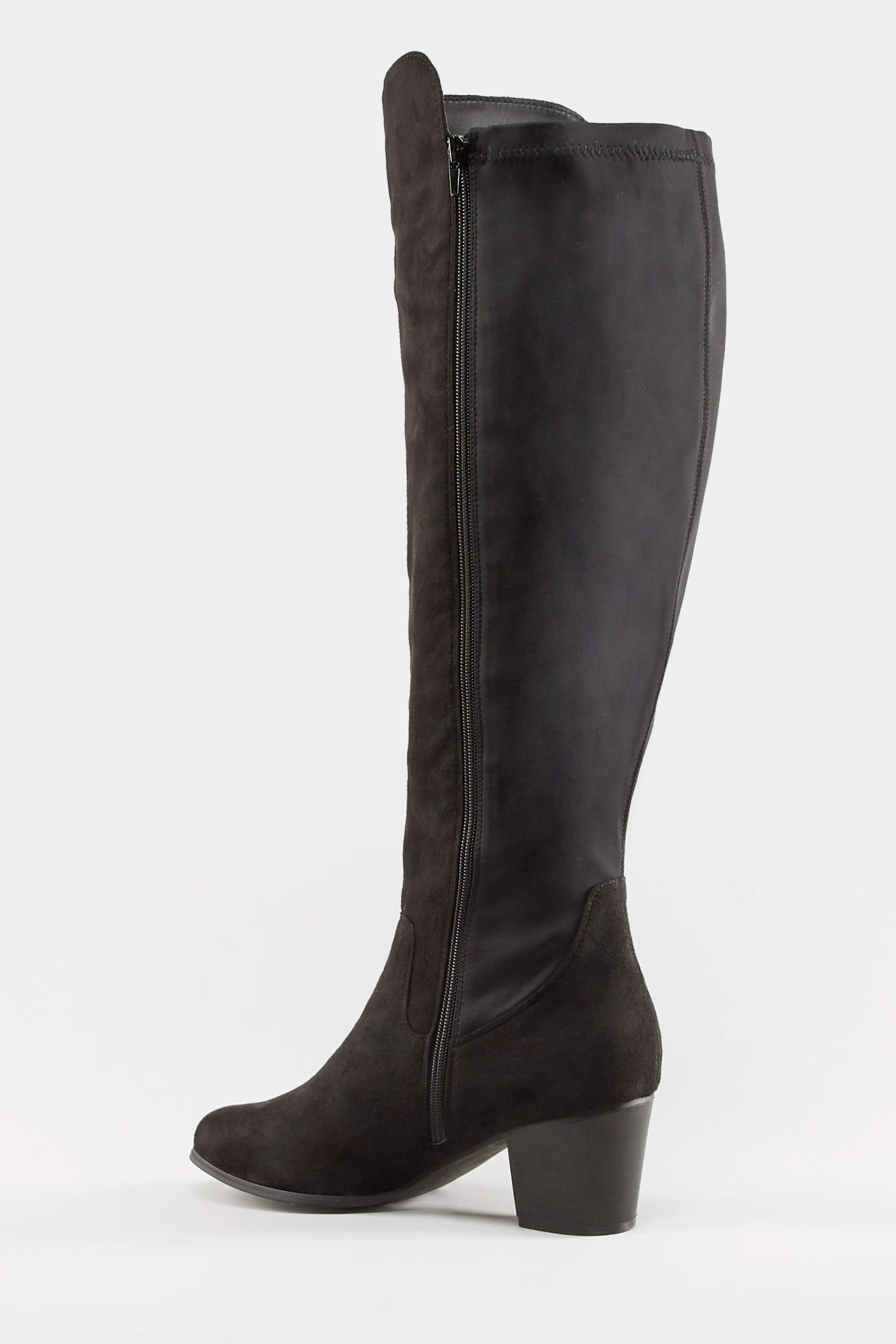 Schwarze Kneehigh Stiefel mit Absatz, Reißverschluss & weiter Passform EEE Fit