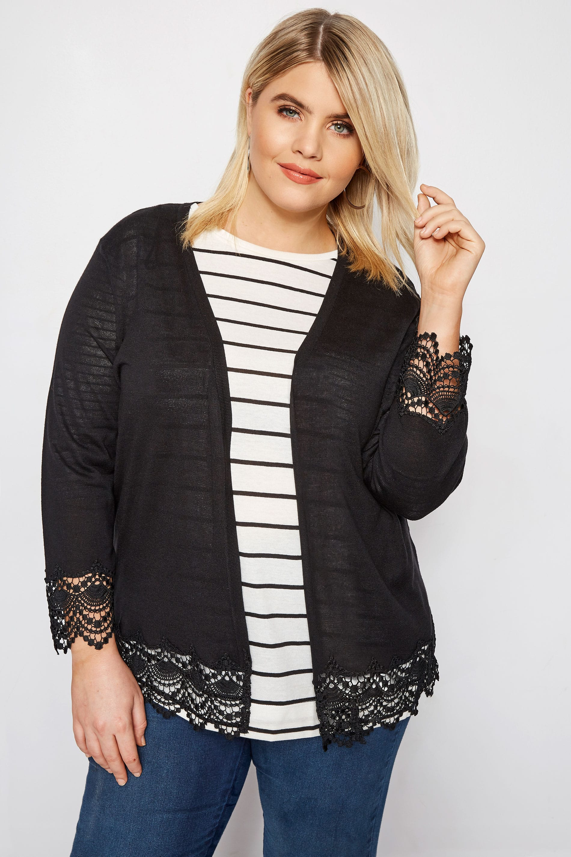 Black Lace Trim Cardigan