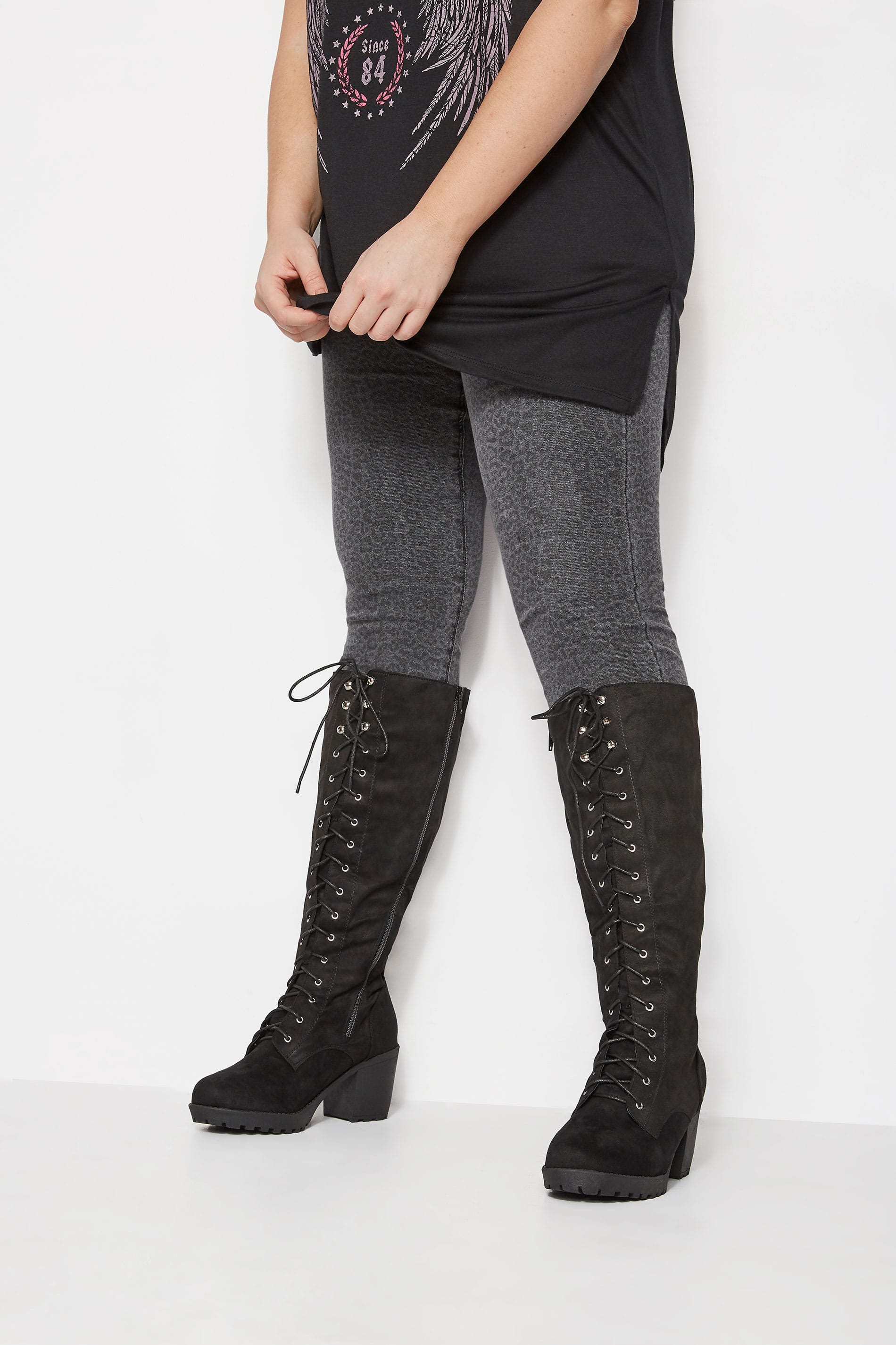 Black Lace Up Heeled Knee High Boots In Extra Wide Fit