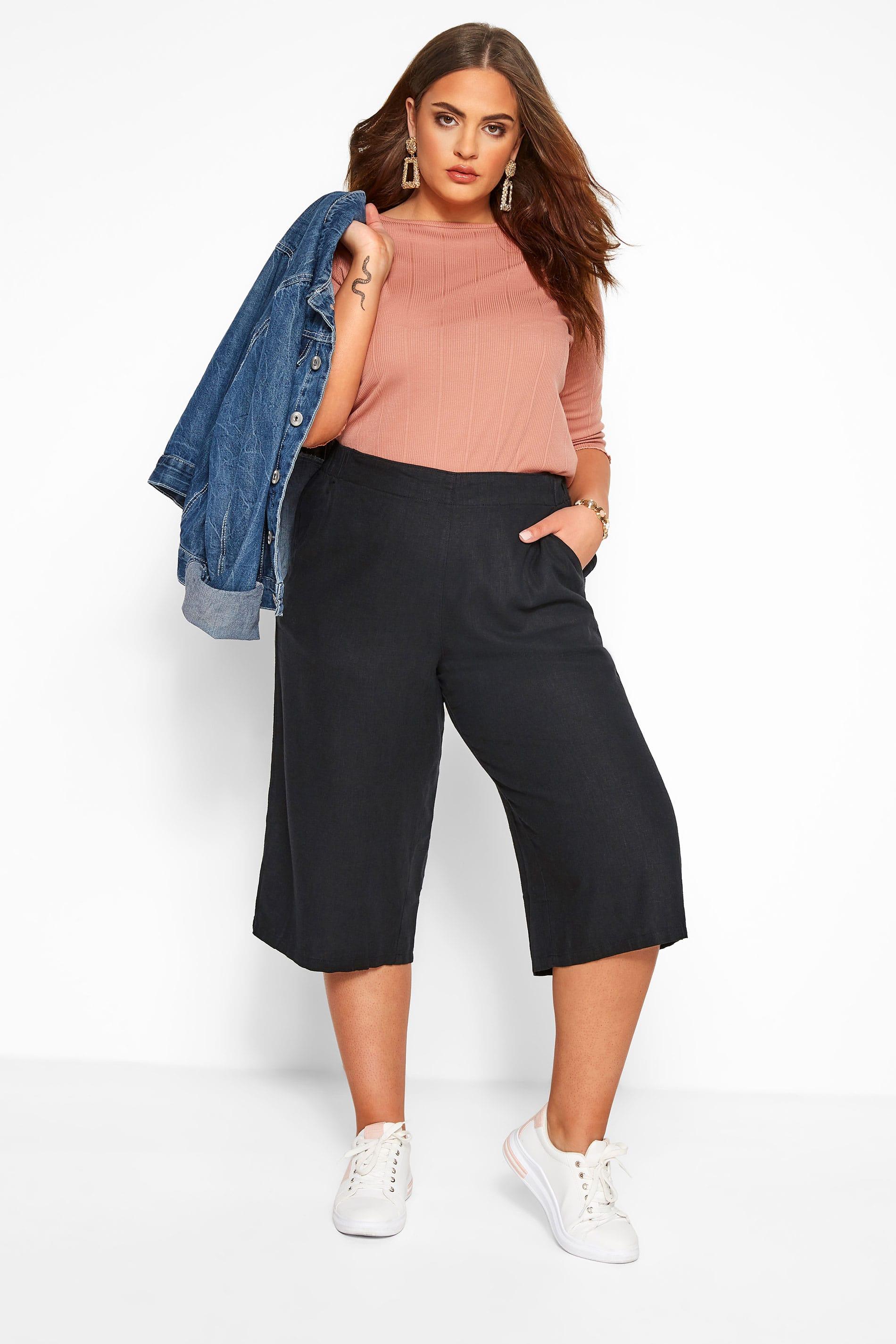 Black Linen Culottes