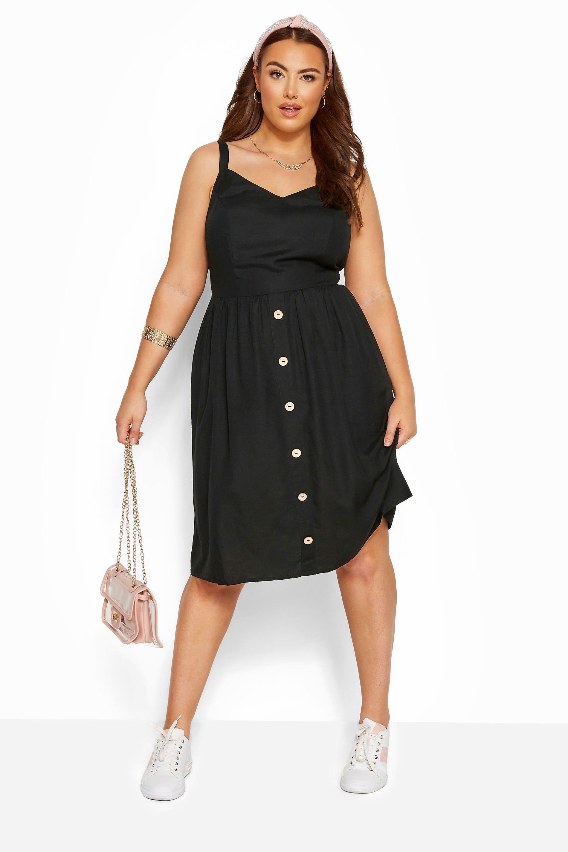 Black Linen Feel Sundress
