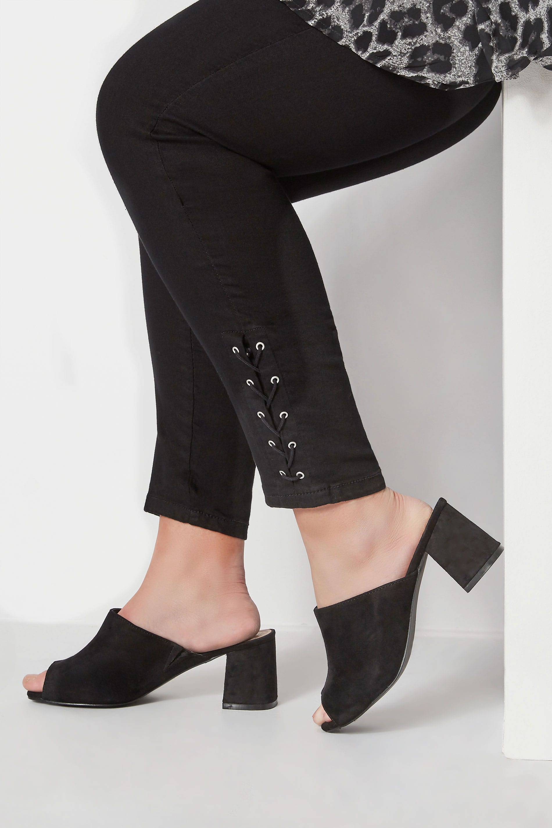 Black Mule Heeled Sandals In Extra Wide Fit