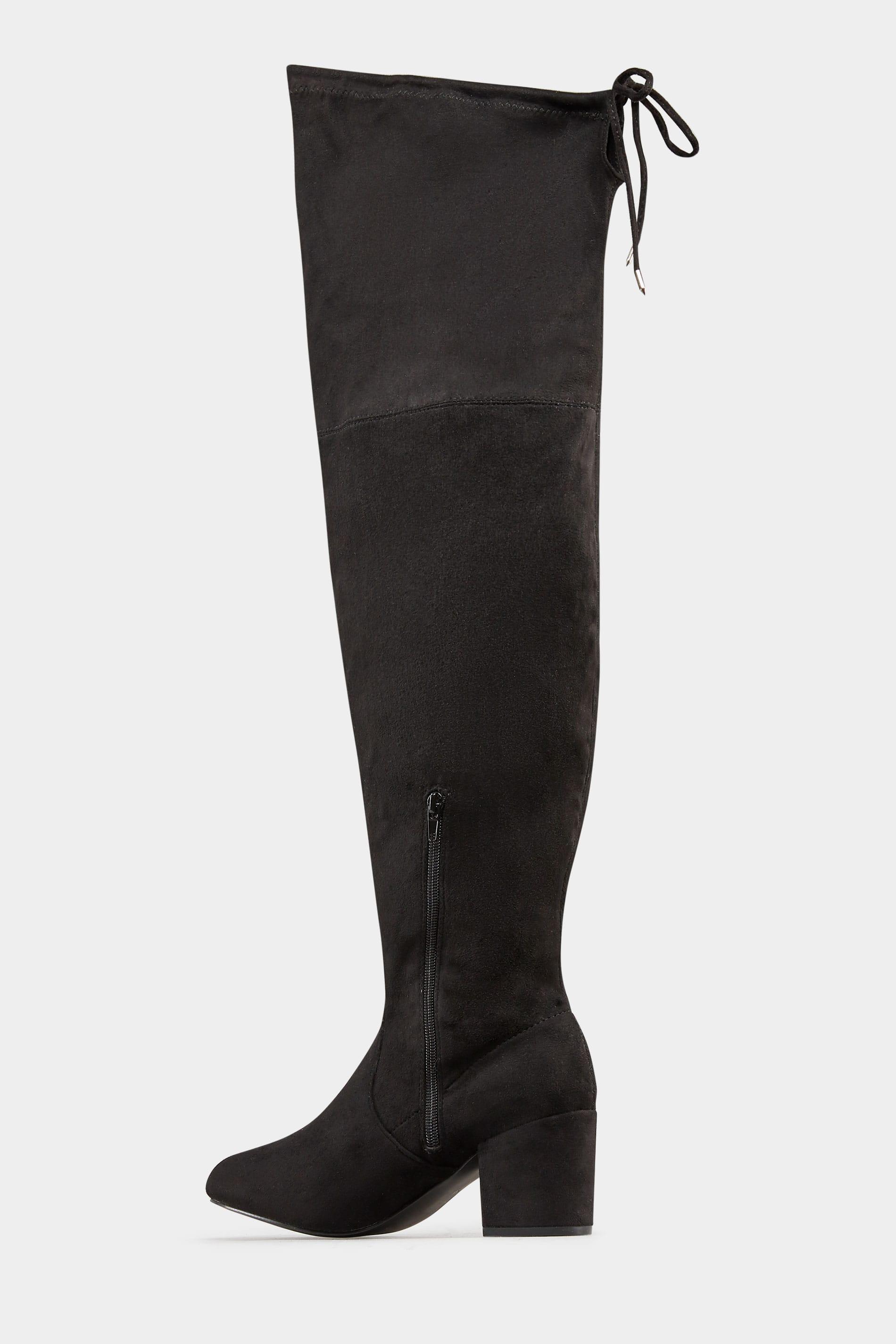 heiß-verkauf freiheit attraktive Farbe Sonderangebot Schwarze Over Knee Stiefel mit weiter Passform EEE Fit