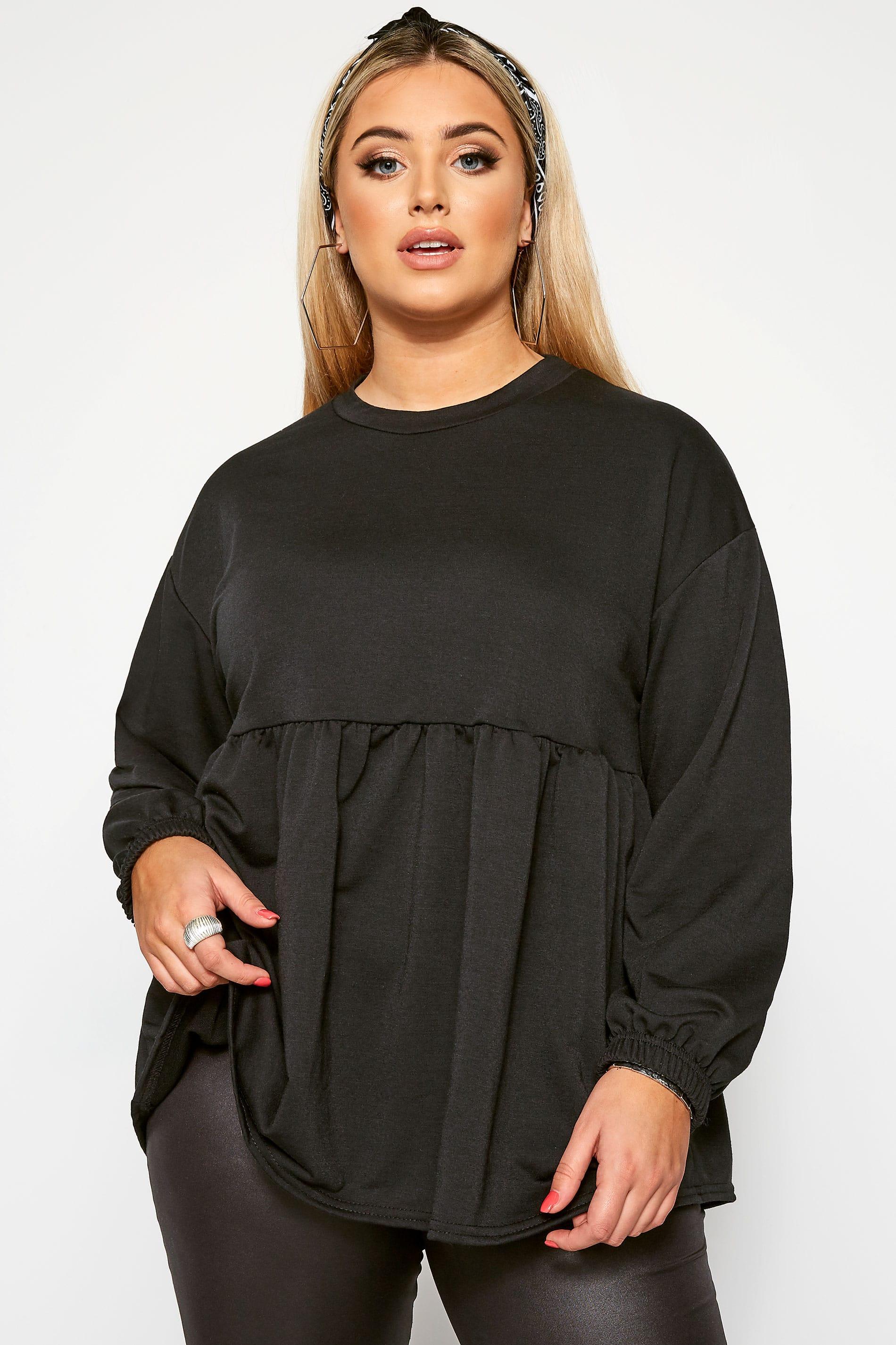 Sweatshirt mit Schößchen - Schwarz