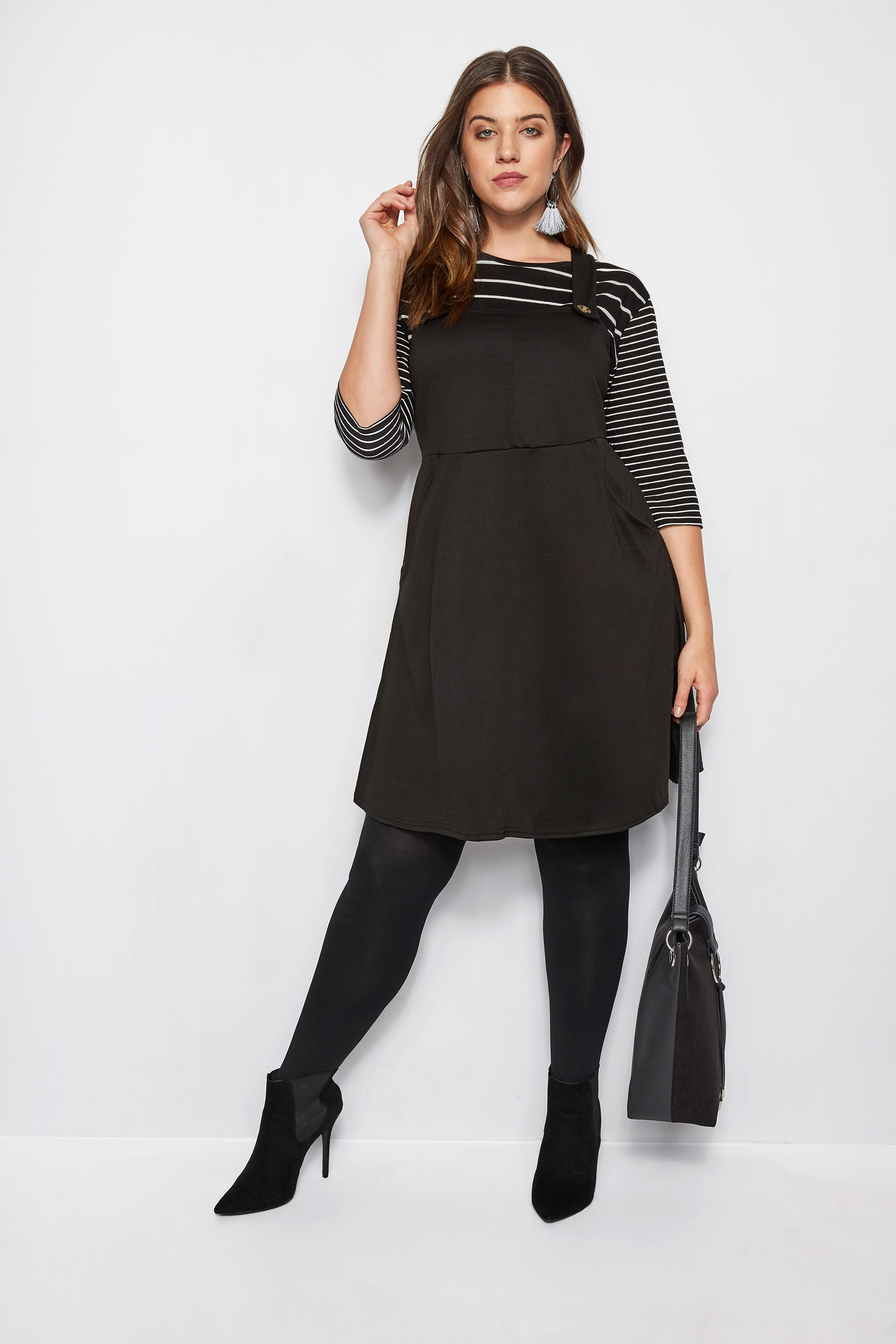 clearance sale buy good for sale Black Pinafore Dress