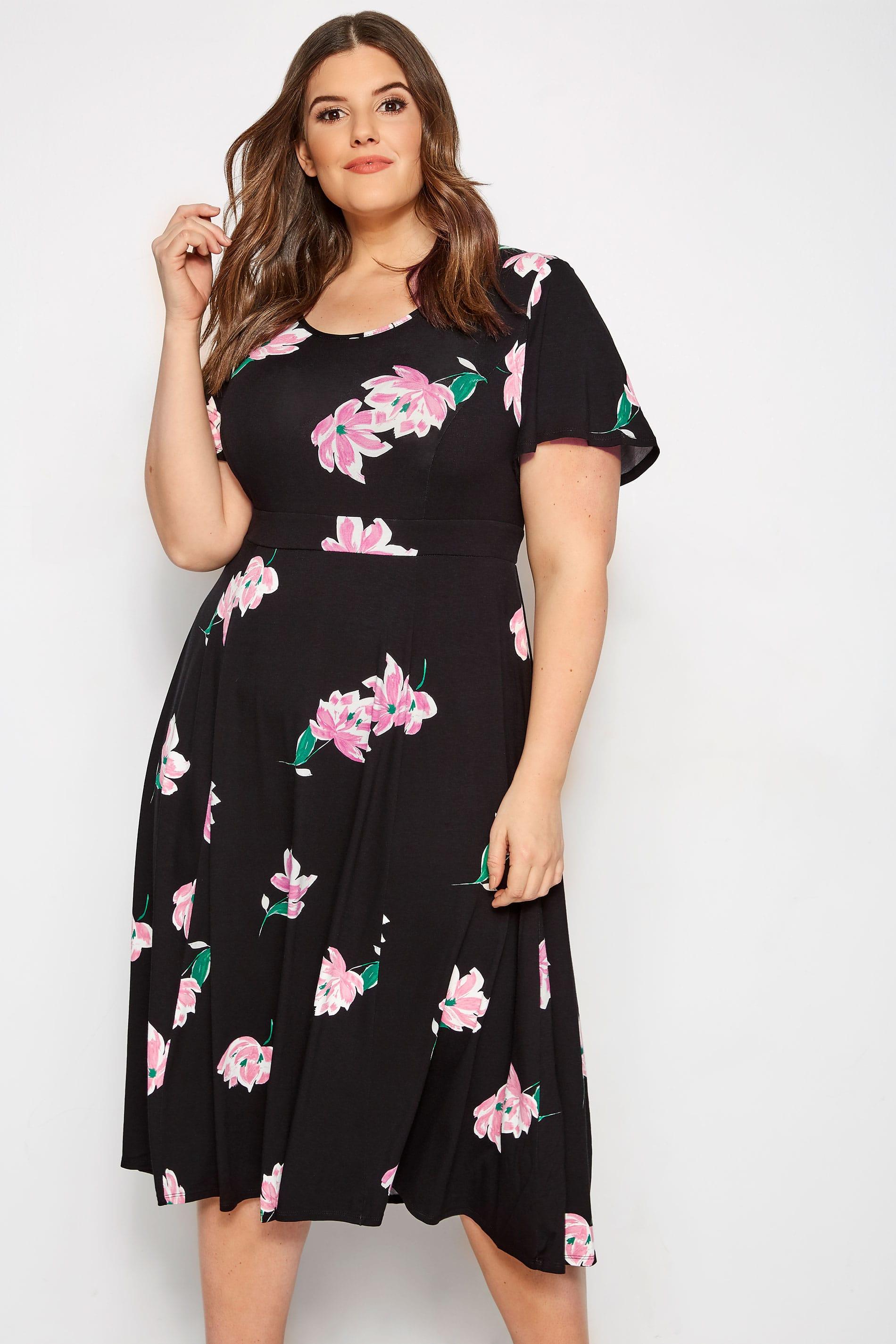 Black & Pink Floral Midi Dress
