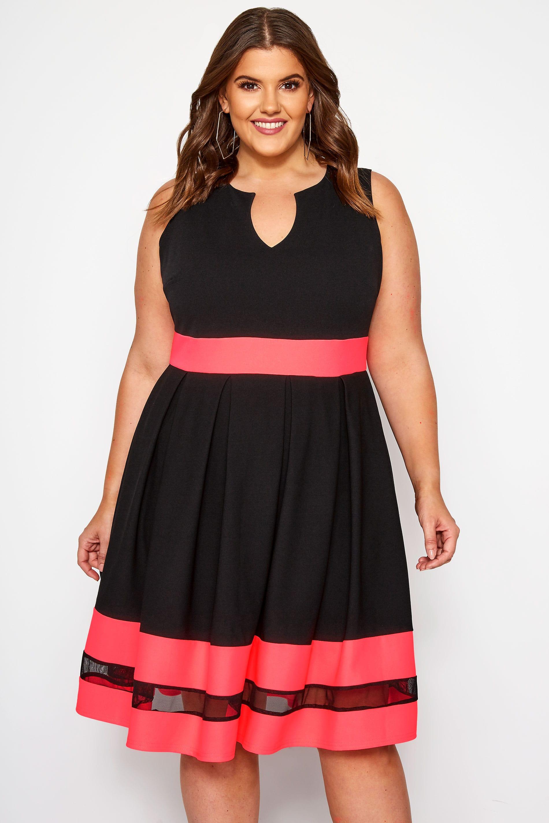 Black & Pink Scuba Skater Dress