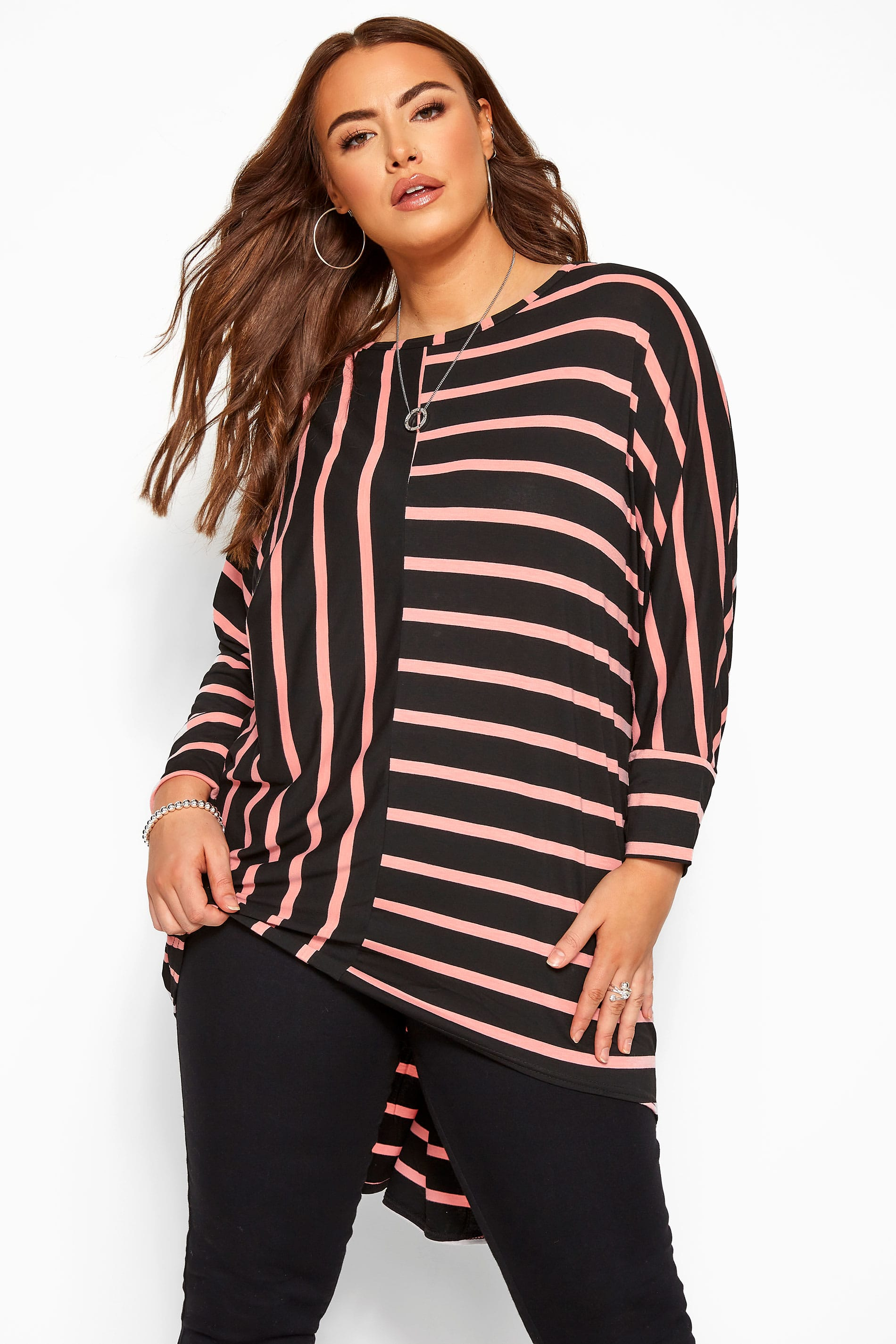 Black & Pink Stripe Extreme Dipped Hem Top