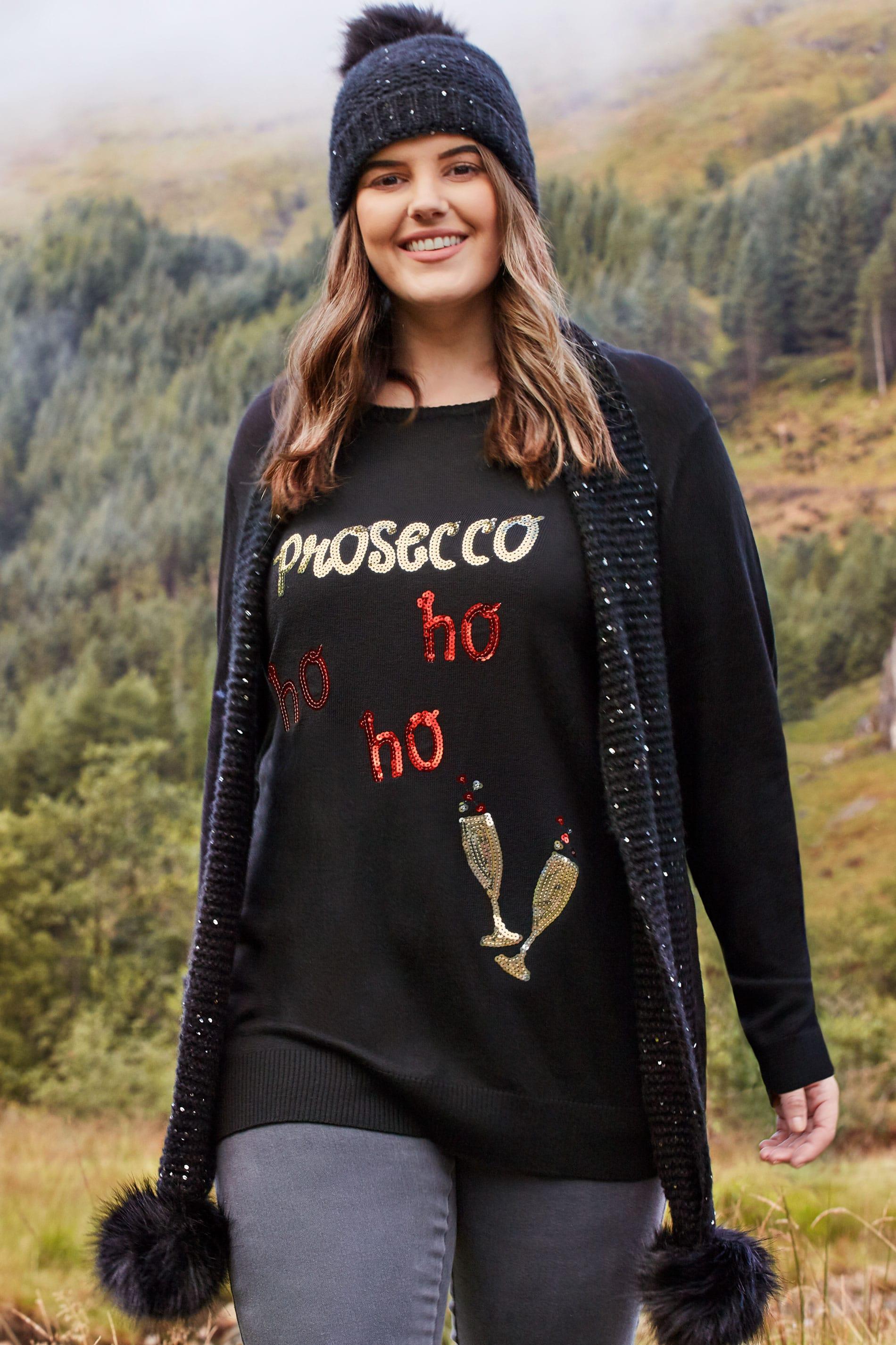 Black 'Prosecco Ho Ho Ho' Christmas Jumper