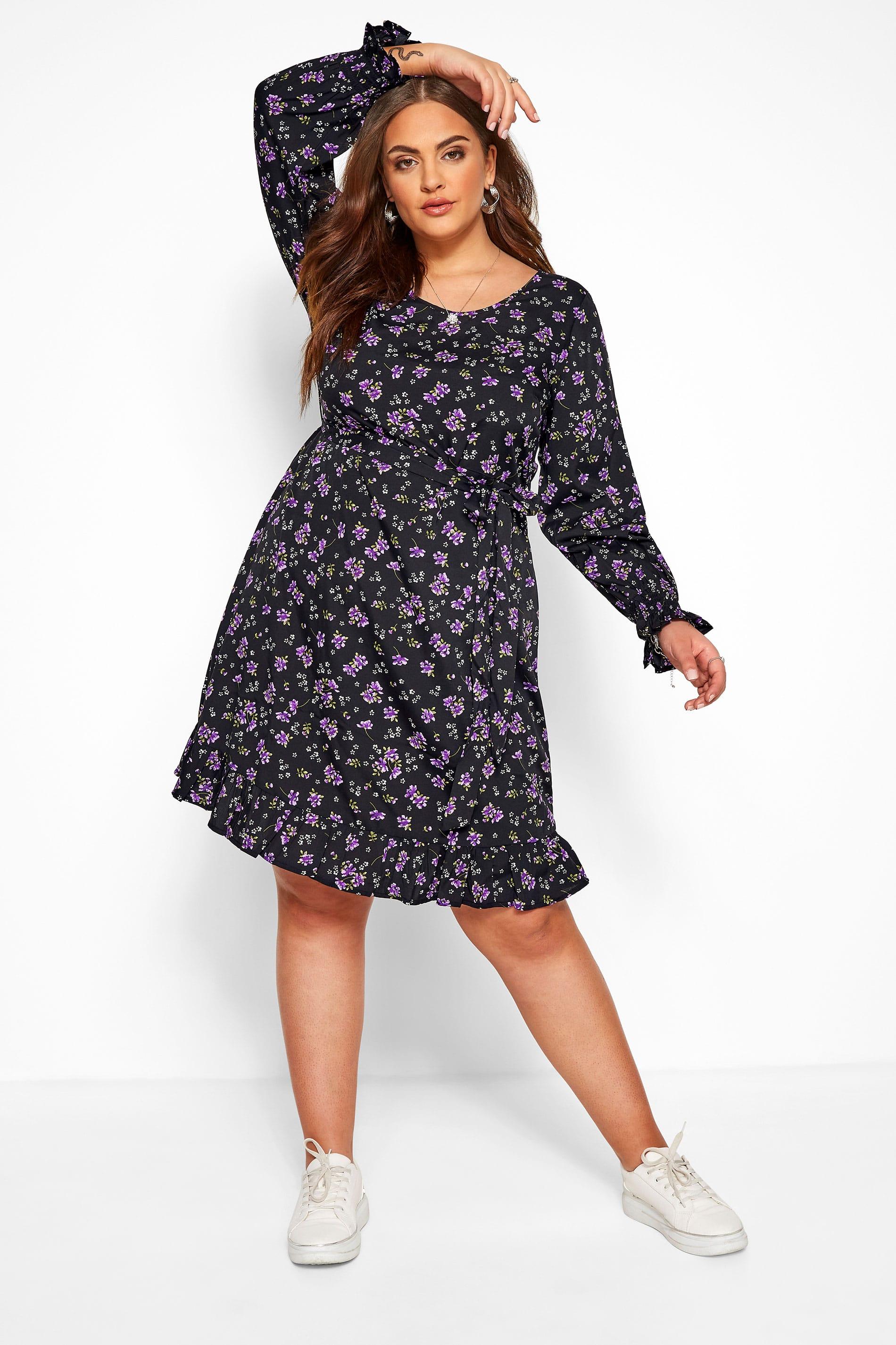 Black & Purple Floral Ruffle Dress