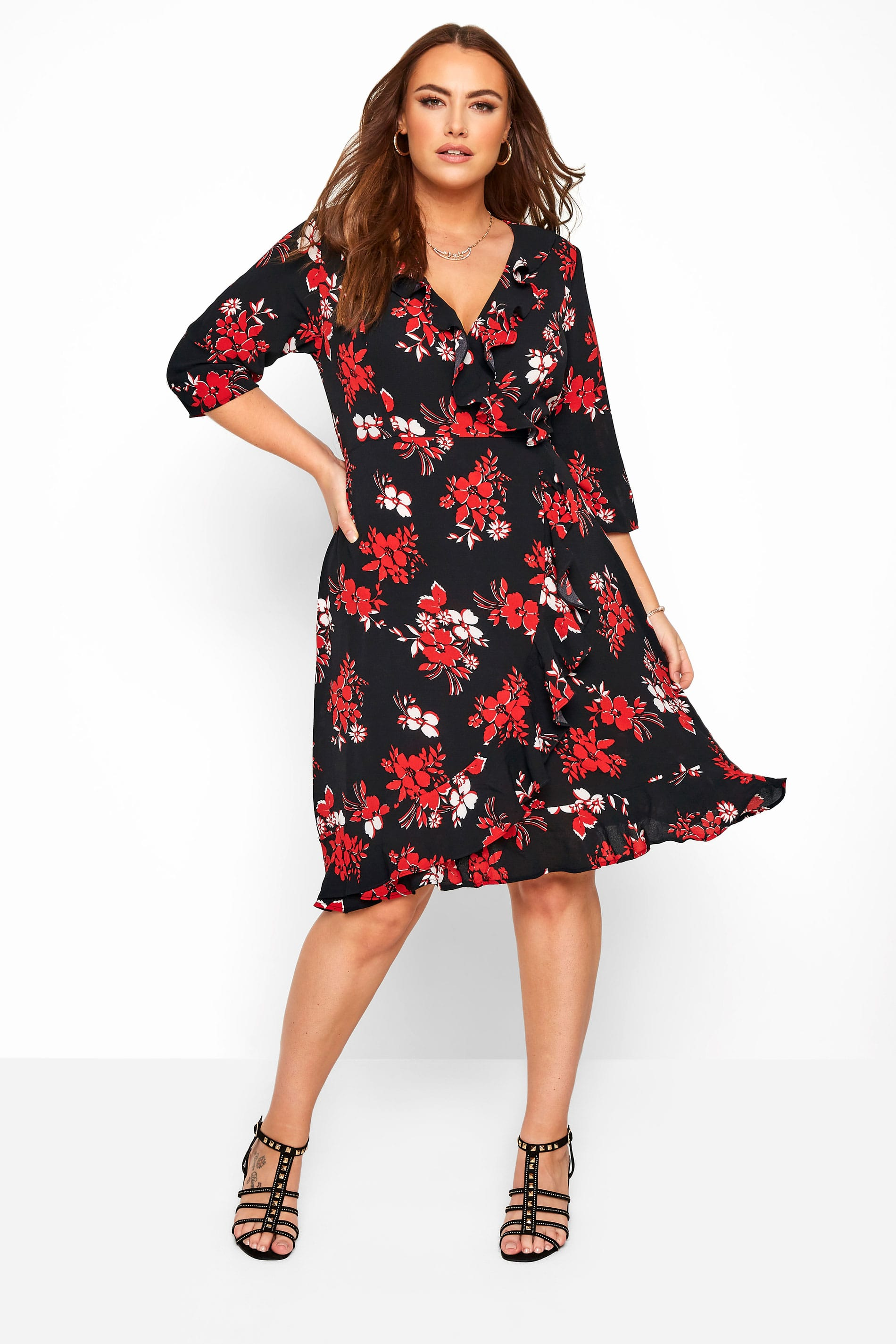 Black & Red Floral Frill Wrap Dress