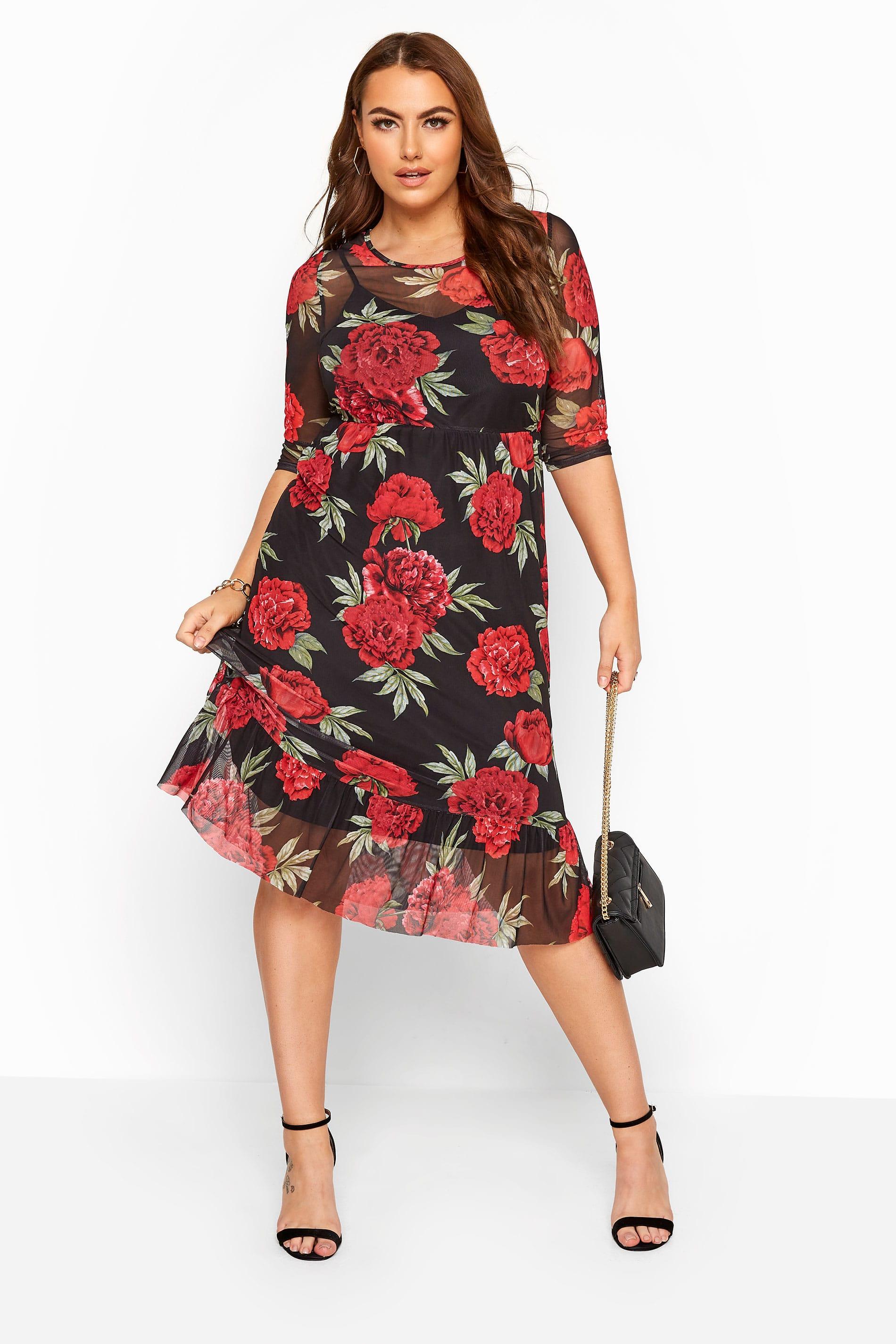 Black & Red Mesh Floral Ruffle Dress