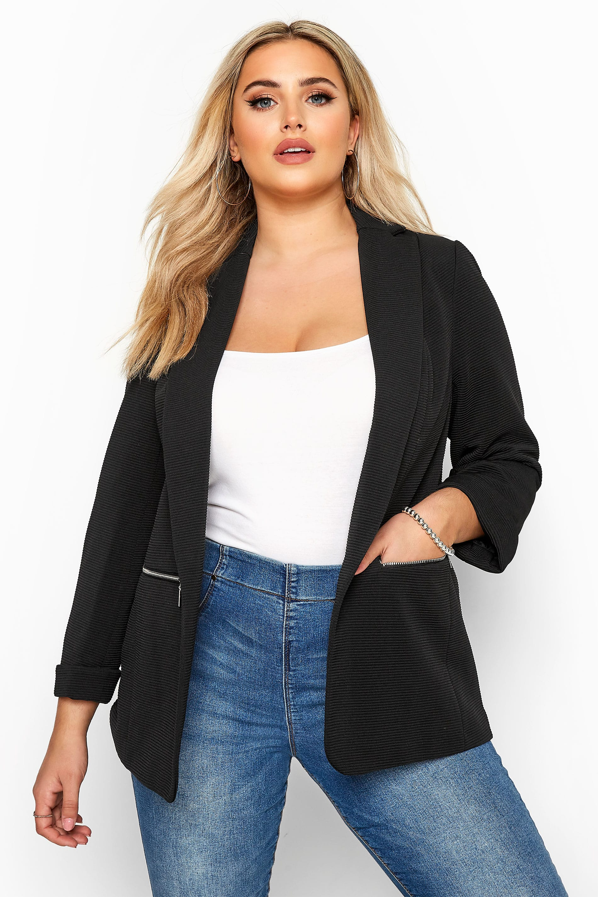 Black Ribbed Zip Pocket Blazer Jacket