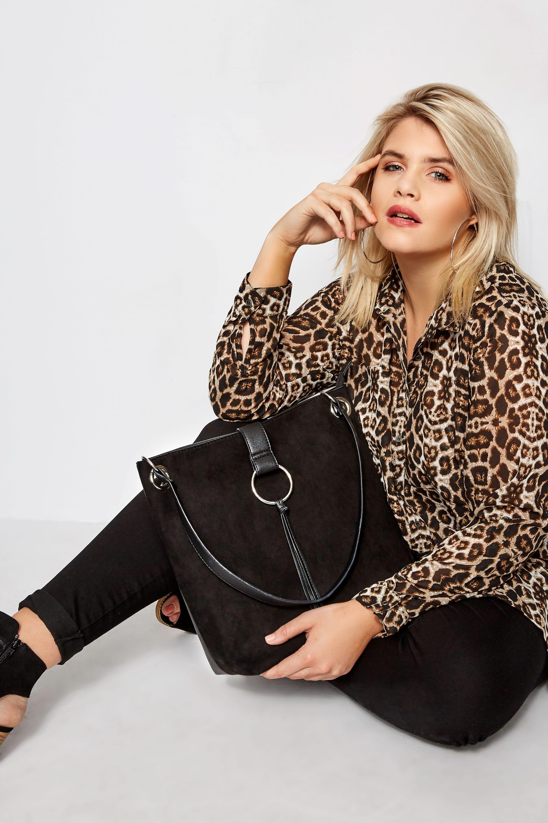 Black Ring Detail Shoulder Bag