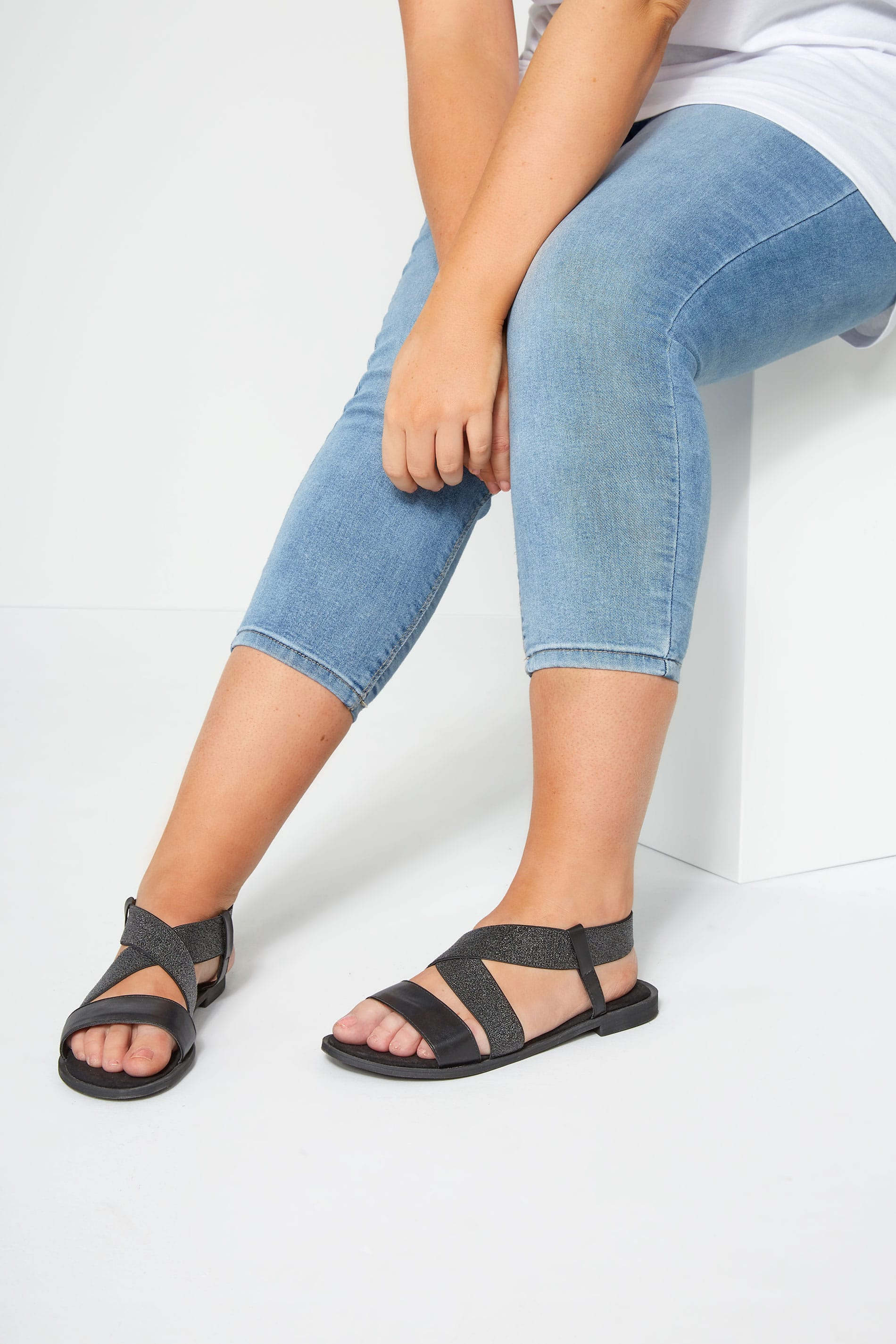 Black Shimmer Elastic Sandals In Extra Wide Fit