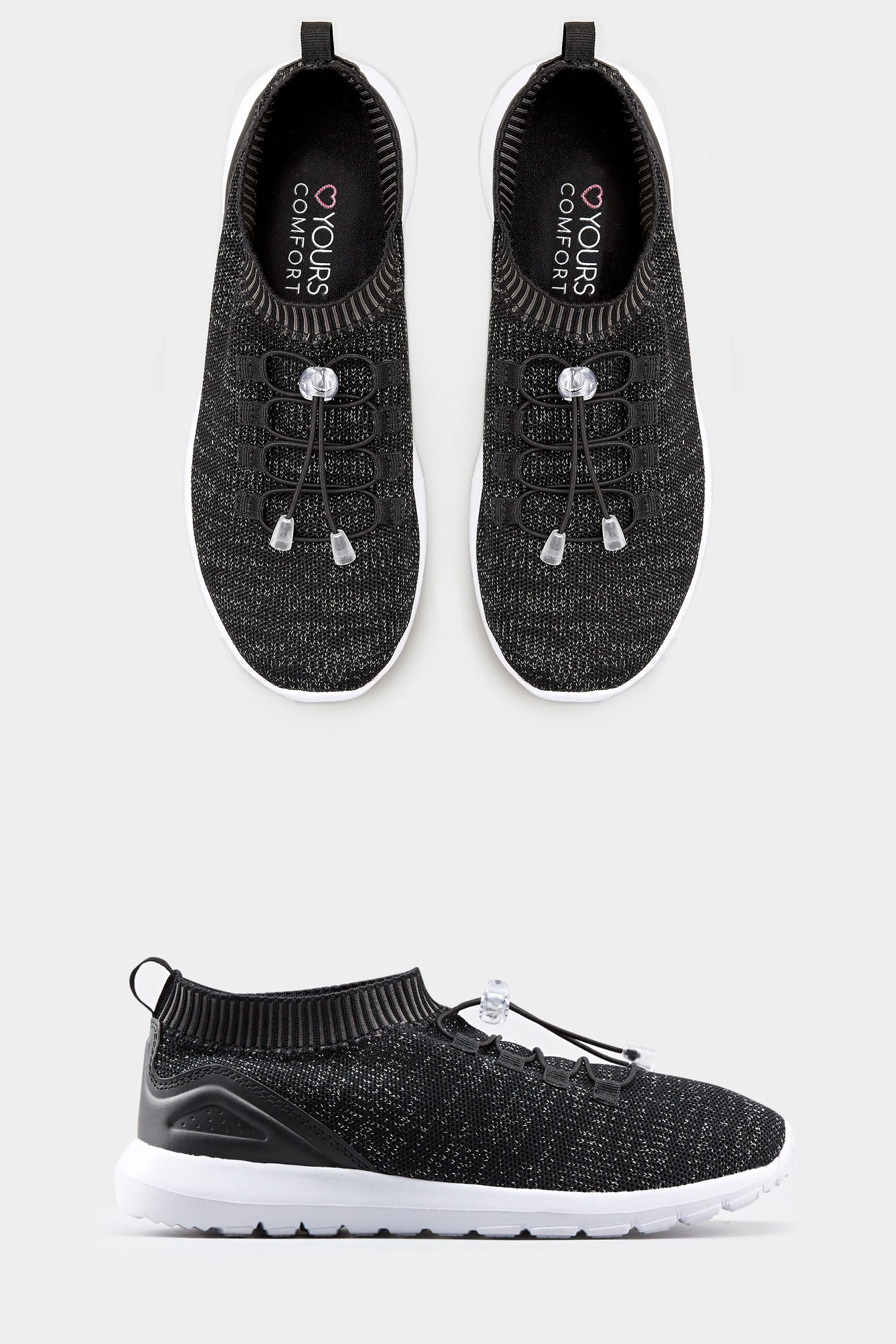 Yours Black Shimmer Sock Style Trainers In Extra Wide Fit